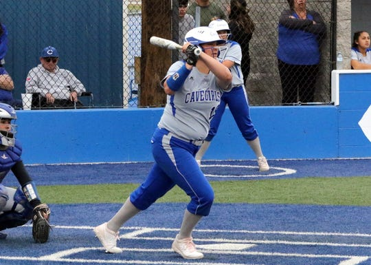 Carlsbad's Taighen Whitzel watches her no-doubt two-run homer leave the park in Game 1 of a doubleheader against Lovington on April 12, 2019. Whitzel added a double later in the game, going 3-for-4 with three RBIs in the 8-2 win.