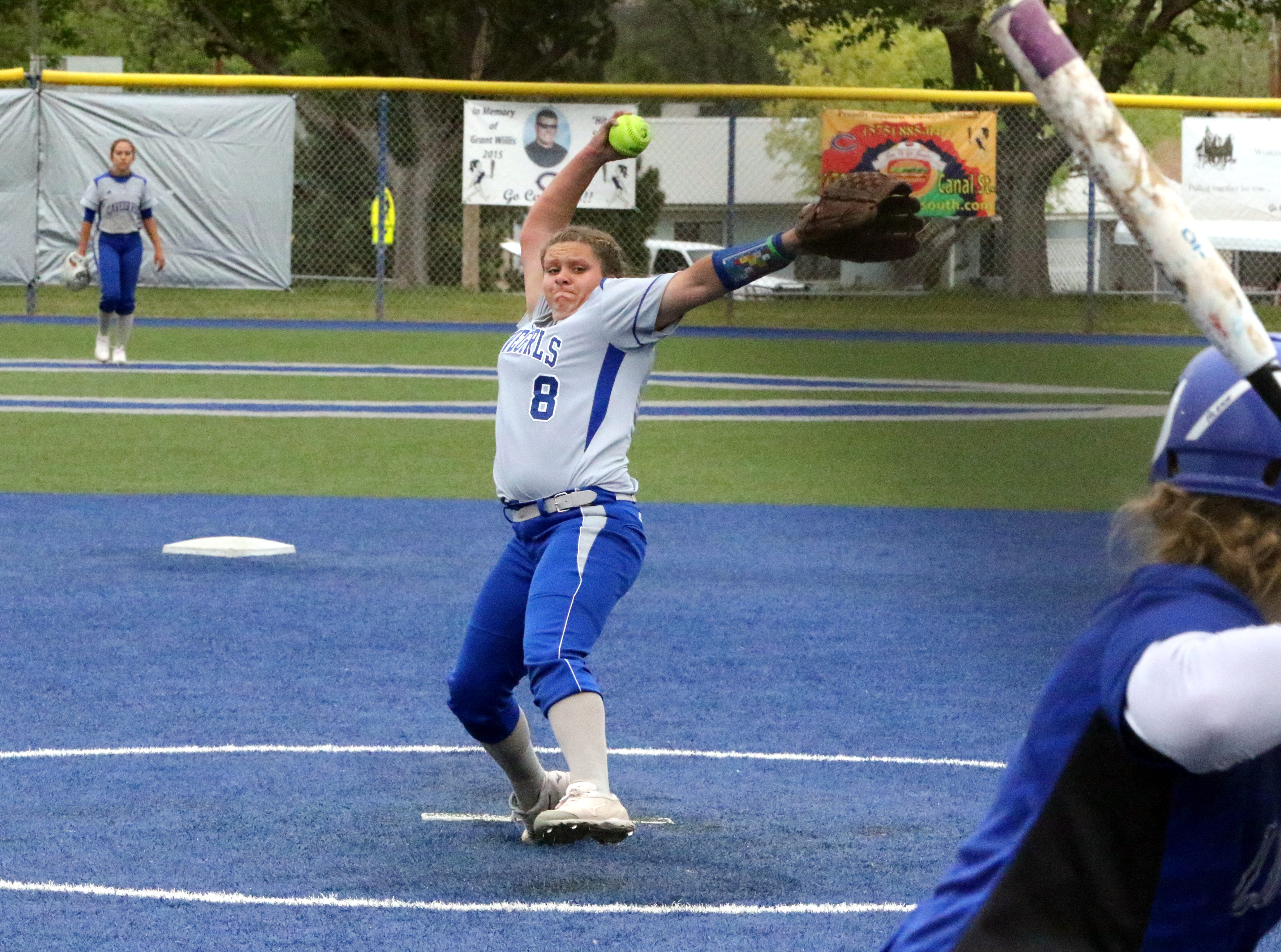 Brianna Santo pitches in Game 1 of Friday's doubleheader vs. Lovington. She threw a complete game, allowing two runs in seven innings of work.