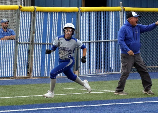 Gabby Aragon races home to score against Loving on April 12. Aragon led the Cavegirls in batting average and was one of the three Cavegirls to represent Eddy County in the Southeast Large School All-Star team.