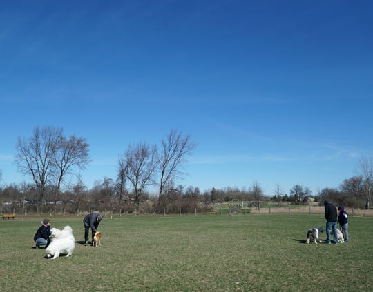 Humans and their four-legged friends hang out on April 13, 2019 at the Lyon Oaks Dog Park. Dog owners enjoy that the fenced in space provides lots of running around room for their pets.
