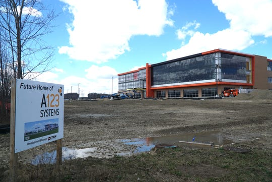 Work continues on the next home of A123 in Novi on April 9, 2019 - at Cabaret and Fountain Walk Drive. The large lithium battery manufacturer A123 System's new 150,000-square-foot headquarters will be located on a 32-acre plot of land near the Fountain Walk retail complex.