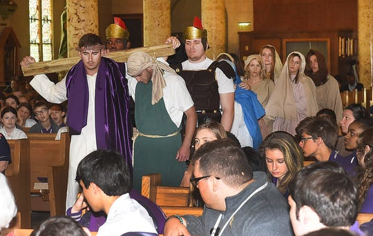 In observance of Holy Week leading up to Easter, the senior class at Opelousas Catholic presented two performances of the Passion of Christ at St. Landry Catholic Church.