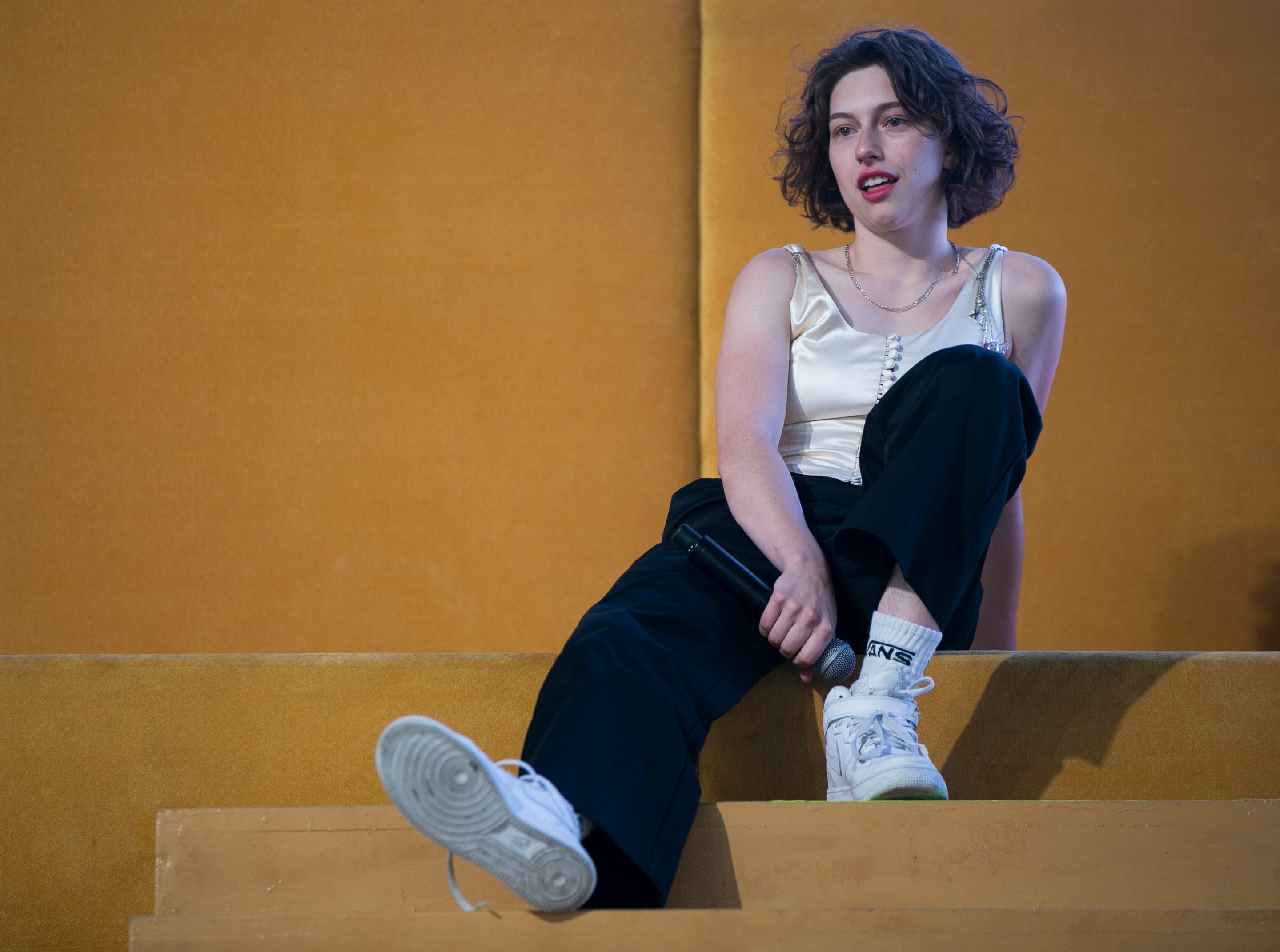 King Princess performs on the Mojave stage at the Coachella Valley Music and Arts Festival in Indio, Calif. on Fri. April 12, 2019.