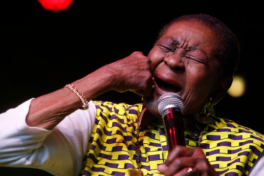 Calypso Rose performs on the Gobi Tent during the 2019 Coachella Valley Music and Arts Festival held at the Empire Polo Club in Indio, California on April 12, 2019.