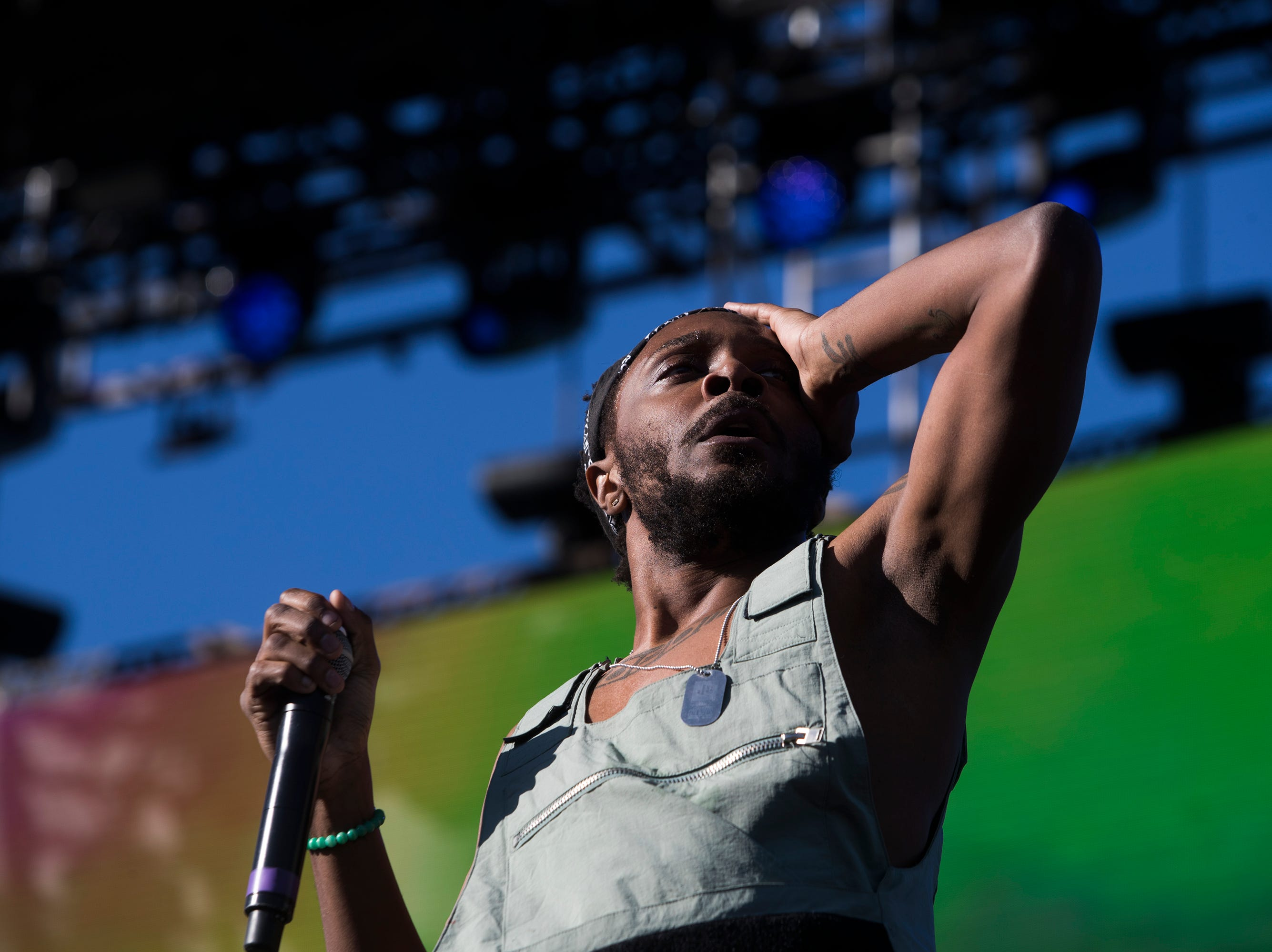 JPEGMAFIA performs on the Outdoor Stage during the 2019 Coachella Valley Music and Arts Festival held at the Empire Polo Club in Indio, California on April 12, 2019.