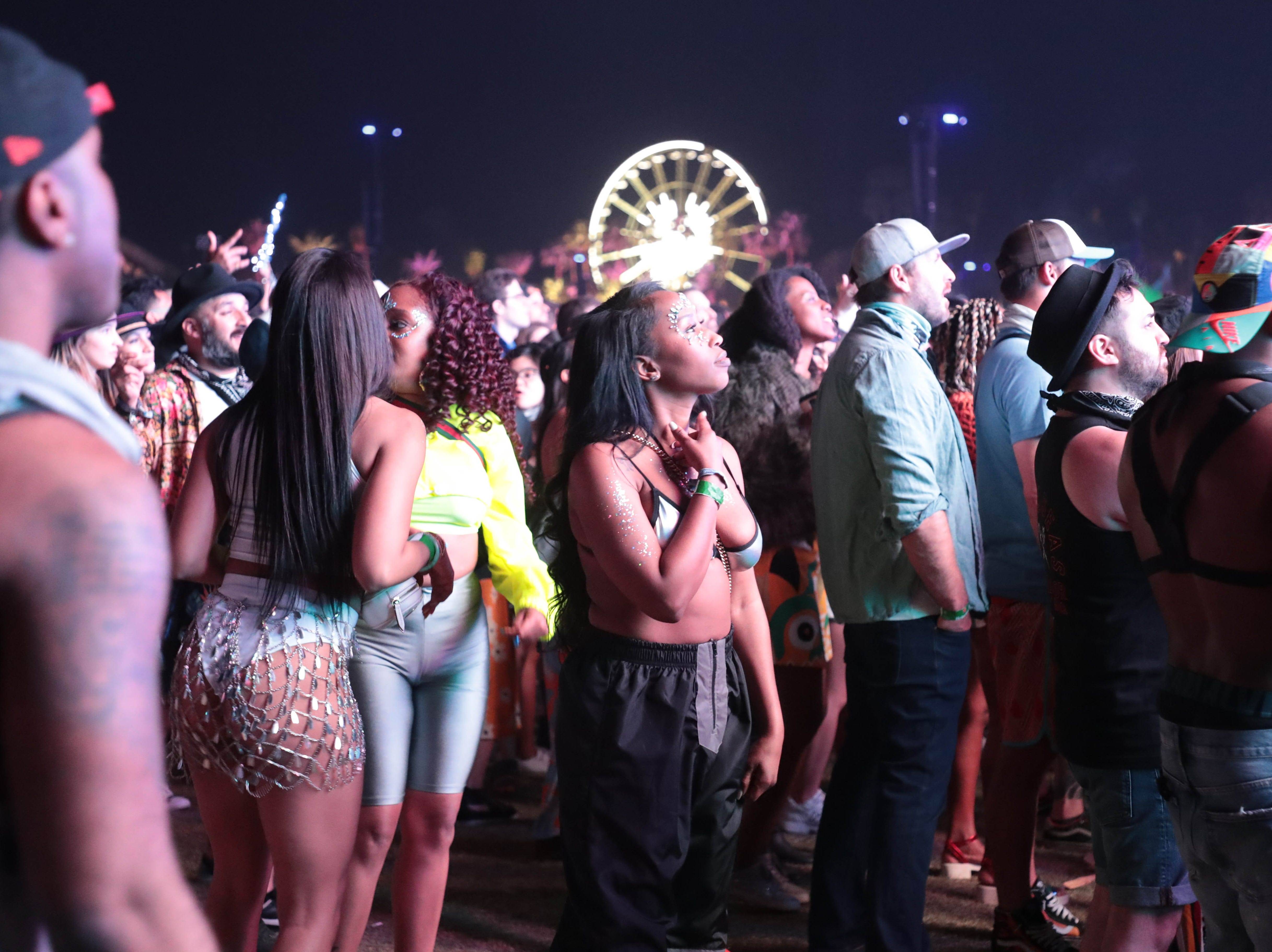Fans watch as Janelle Monáe performs at Coachella Valley Music and Arts Festival on Friday, April 19, 2019 in Indio, Calif.