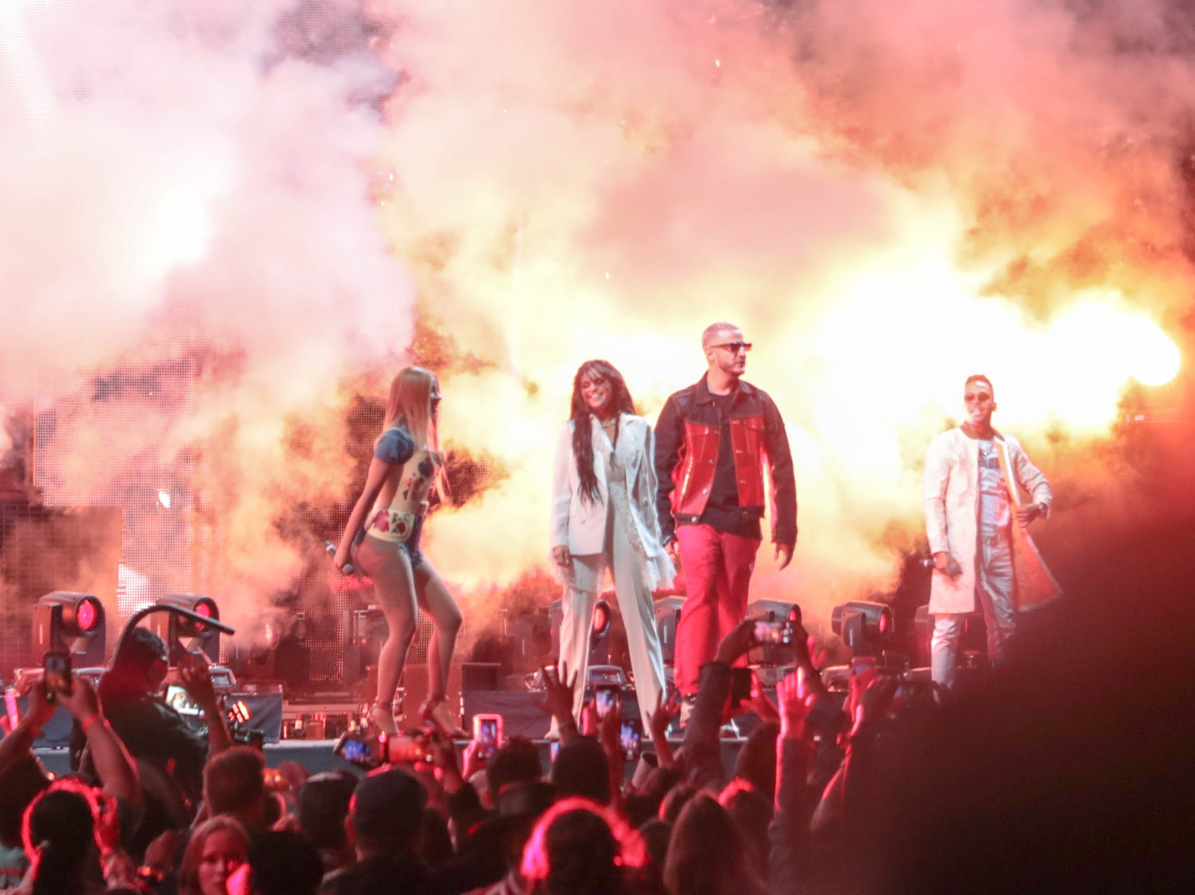 Cardi B, Selena Gomez, DJ Snake and Ozuna perform at Coachella Valley Music and Arts Festival in Indio, Calif on Friday, April 12, 2019.