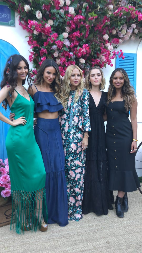 From left to right: Victoria Justice, Madison Grace, Rachel Zoe, Kiernan Shipka and Alisha Boe attend Rachel Zoe's annual ZOEasis at the posh Parker Palm Springs during the first weekend of the Coachella Valley Music and Arts Festival, April 12, 2019.