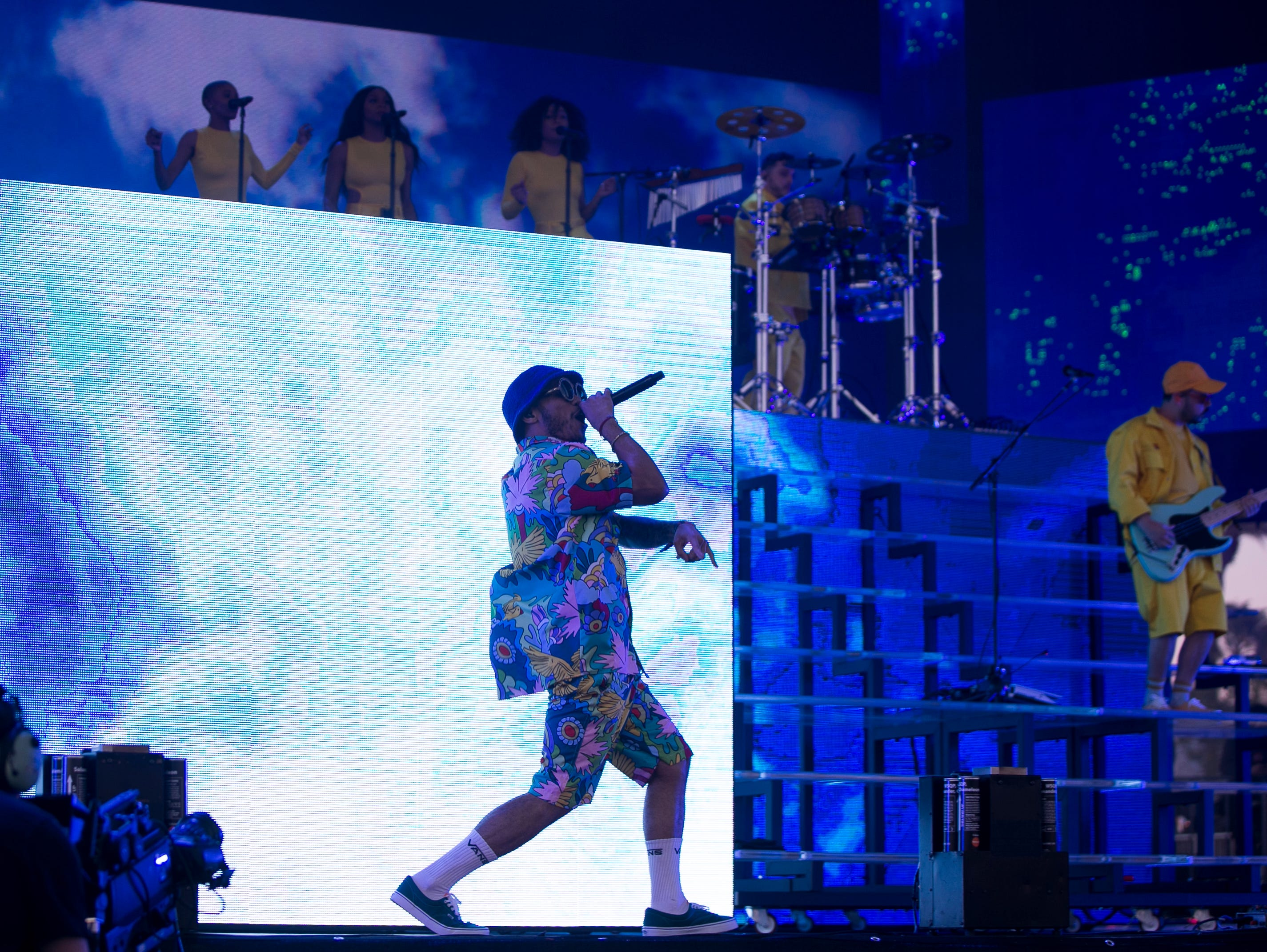 Anderson .Paak and The Free Nationals perform on stage at the Coachella Valley Music and Arts Festival in Indio, Calif. on Fri. April 12, 2019.