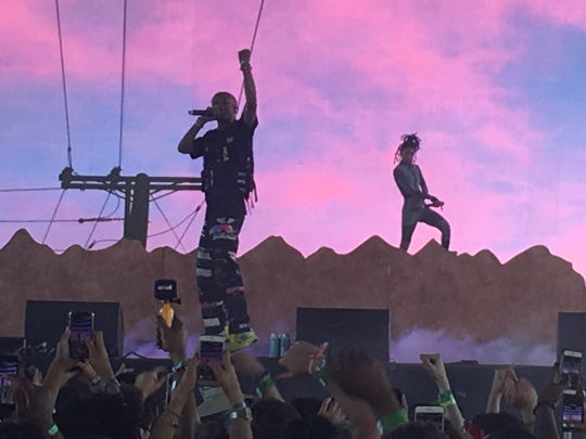 Jaden Smith is joined on stage by sister Willow in the Sahara Tent at the Coachella Valley Music and Arts Festival in Indio, Calif., on Friday, April 12, 2019.