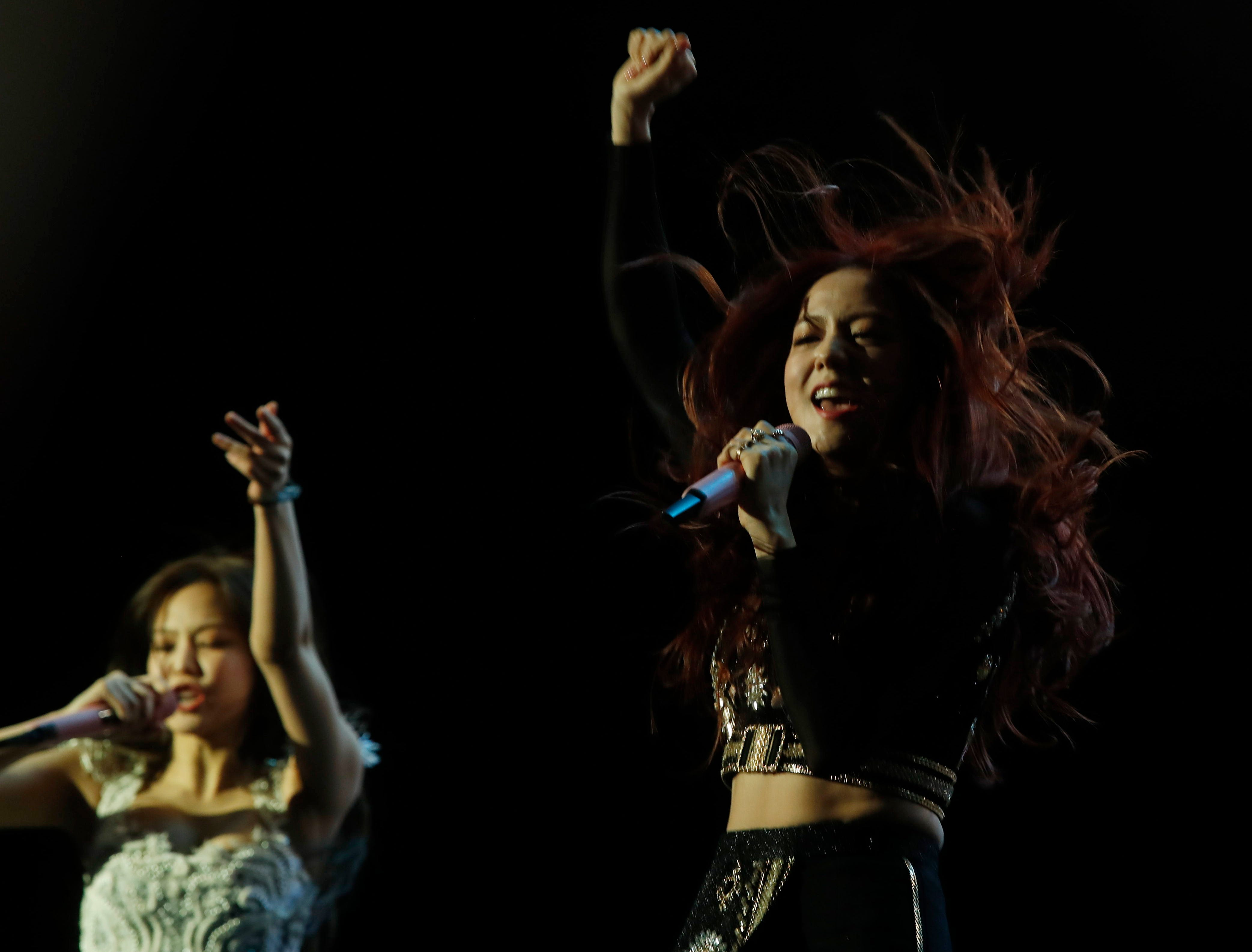 BLACKPINK performs on the Sahara Tent during the 2019 Coachella Valley Music and Arts Festival held at the Empire Polo Club in Indio, California on April 12, 2019.