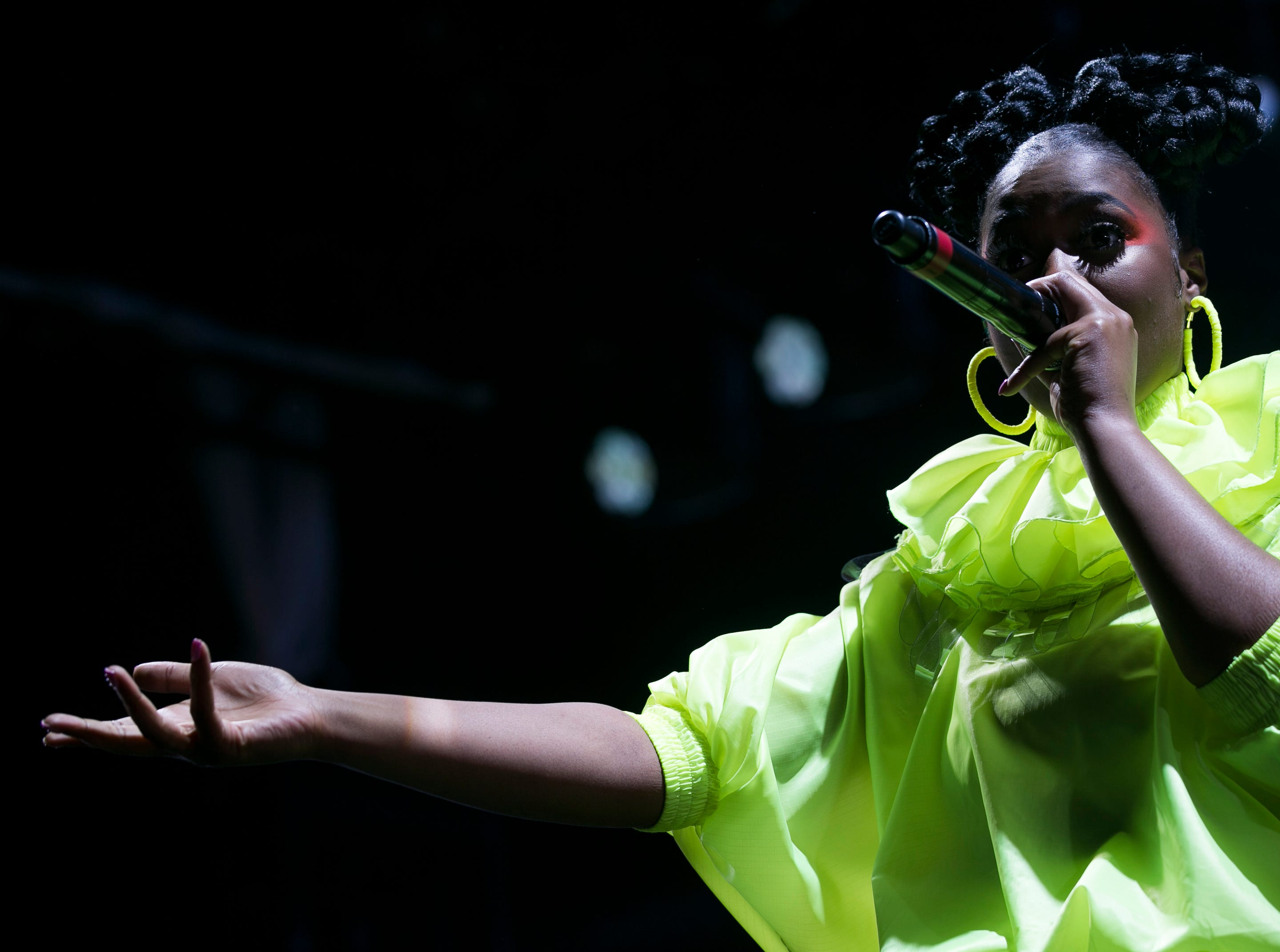 Tierra Whack performs on stage at the Coachella Valley Music and Arts Festival in Indio, Calif. on Fri. April 12, 2019.