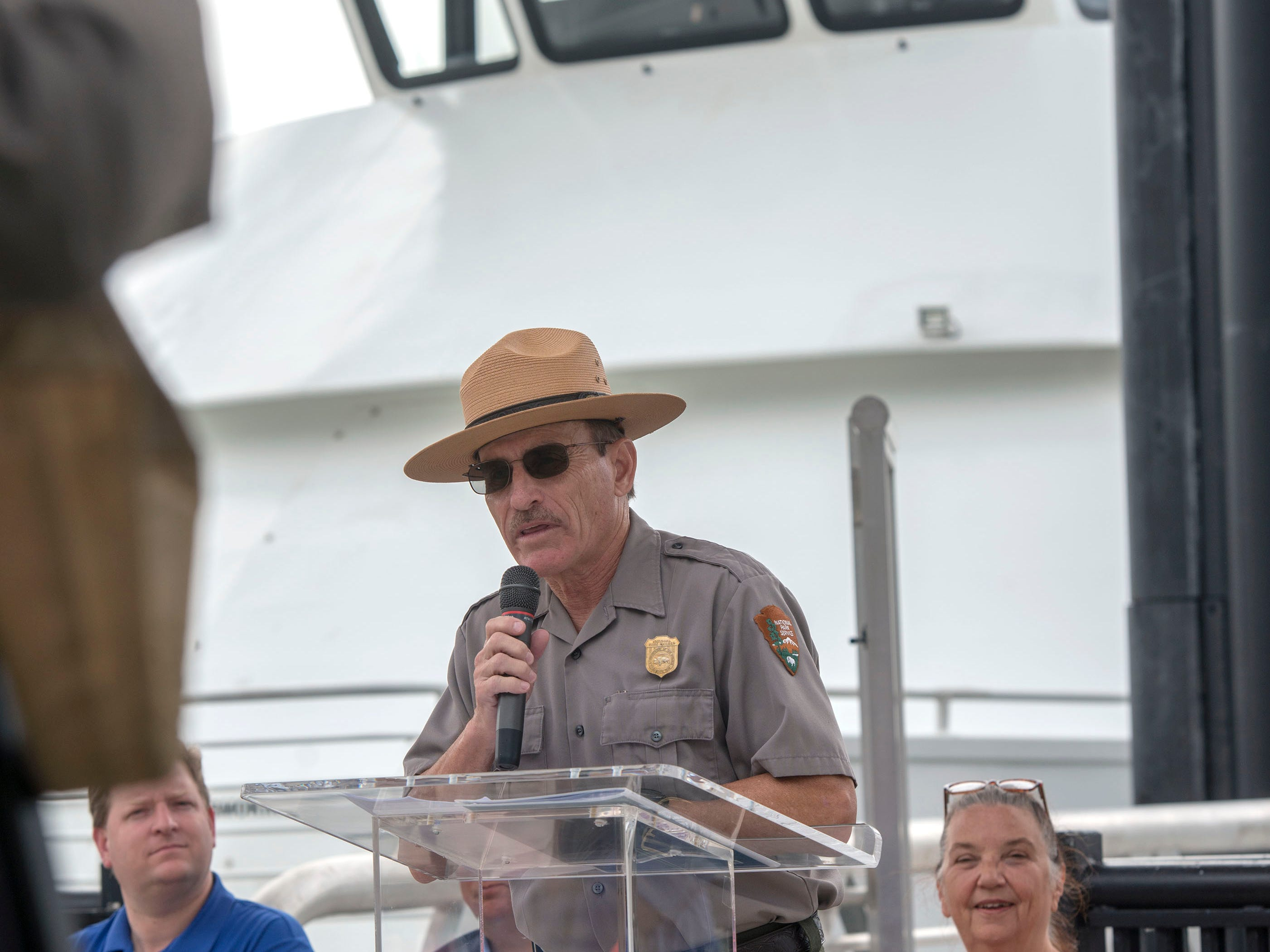 Dan Brown, superintendent with the National Park Service, speaks during the City of Pensacola's Ferry Terminal Building Grand Opening and ribbon cutting Saturday, April 13, 2019.