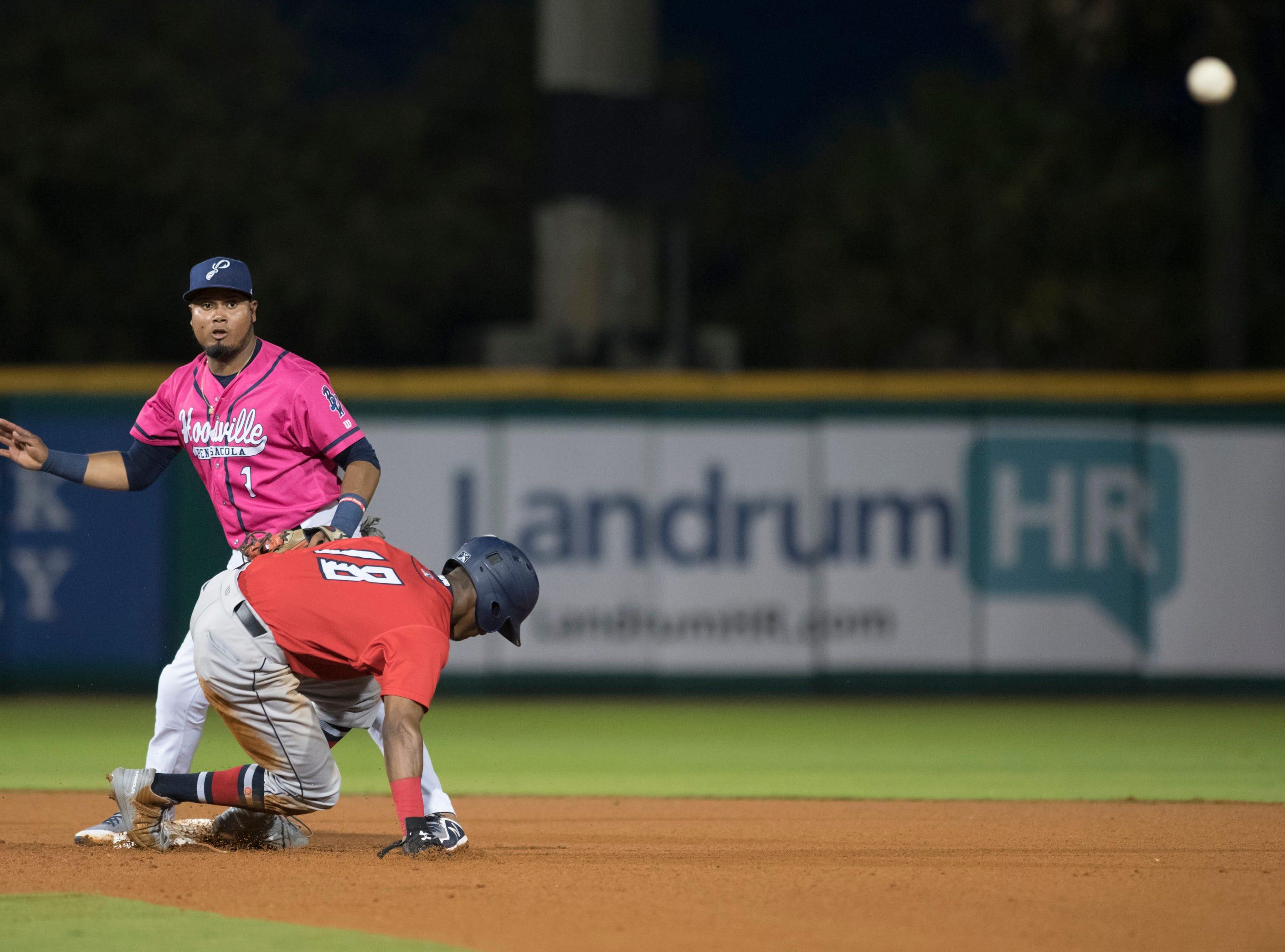 Second baseman Luis Arraez (1) turns the double play during the Jacksonville Jumbo Shrimp vs Pensacola Blue Wahoos baseball game in Pensacola on Friday, April 12, 2019.