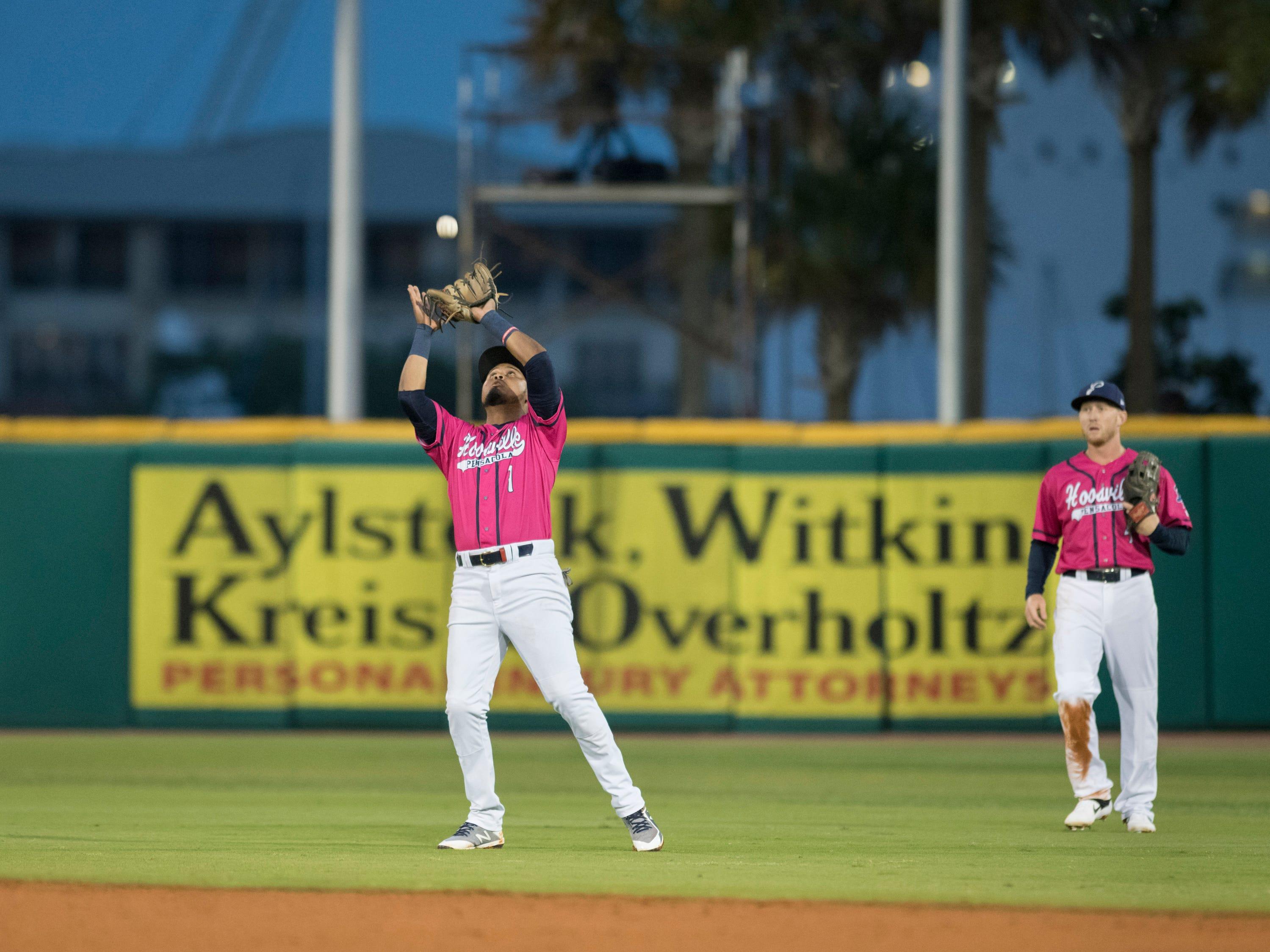 Second baseman Luis Arraez (1) settles under a pop up for an out during the Jacksonville Jumbo Shrimp vs Pensacola Blue Wahoos baseball game in Pensacola on Friday, April 12, 2019.