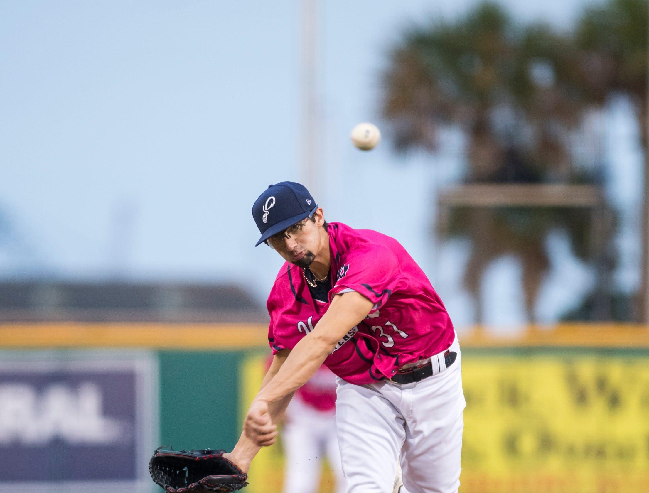 Devin Smeltzer (31) pitches during the Jacksonville Jumbo Shrimp vs Pensacola Blue Wahoos baseball game in Pensacola on Friday, April 12, 2019.