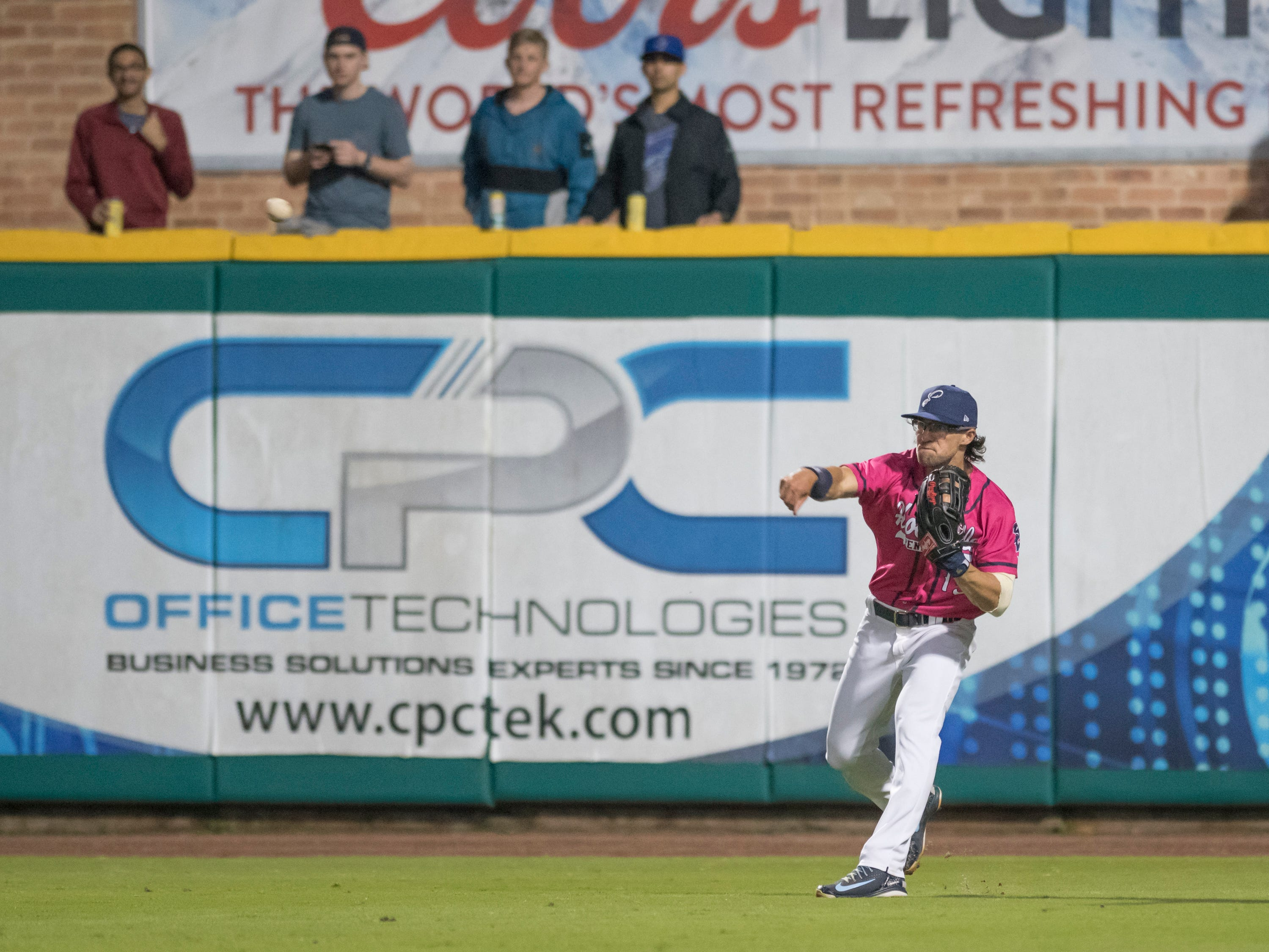 Drew Maggi (15) throws the ball back into the infield during the Jacksonville Jumbo Shrimp vs Pensacola Blue Wahoos baseball game in Pensacola on Friday, April 12, 2019.