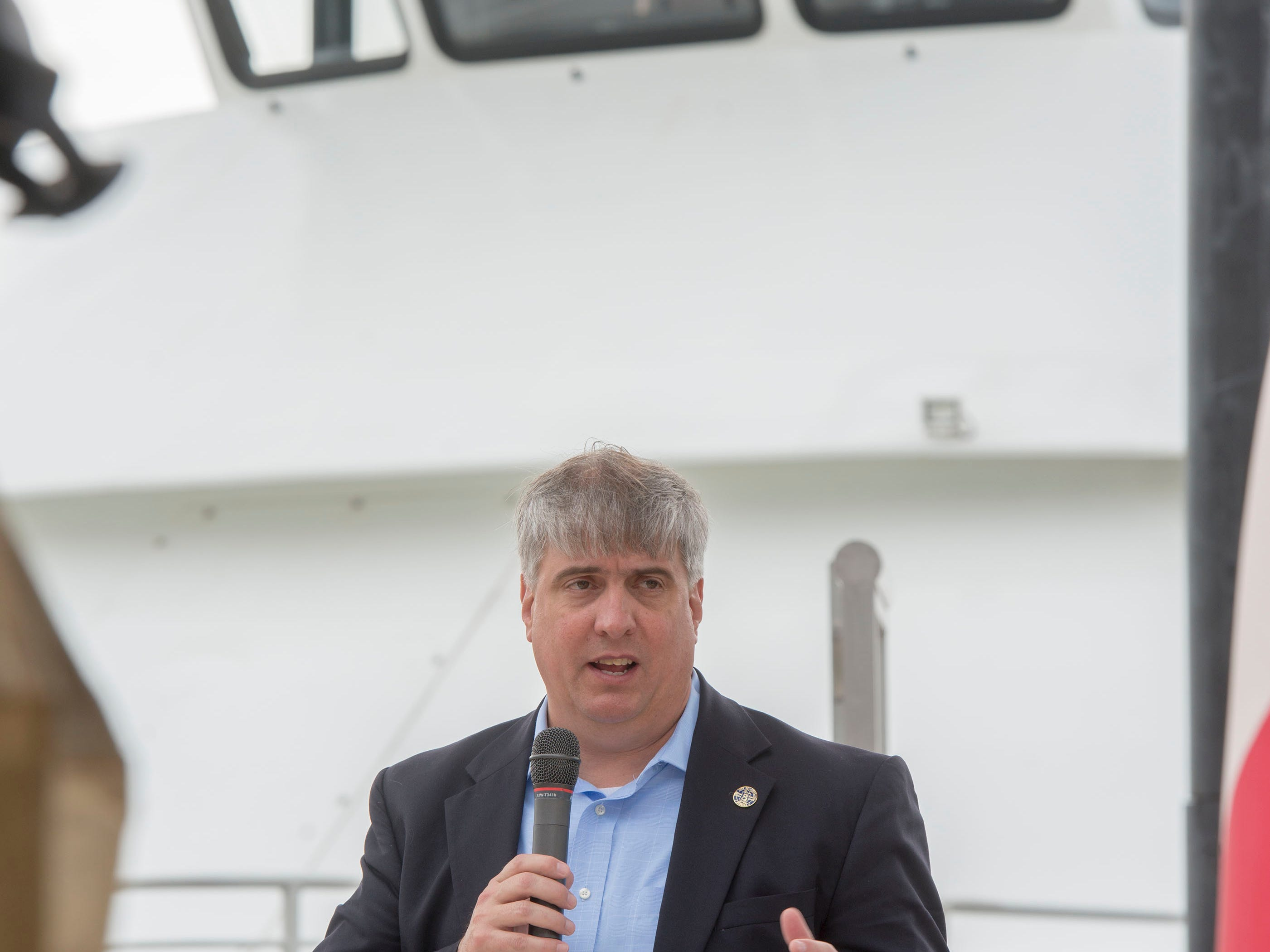 Pensacola mayor Grover Robinson speaks during the City of Pensacola's Ferry Terminal Building Grand Opening and ribbon cutting Saturday, April 13, 2019.