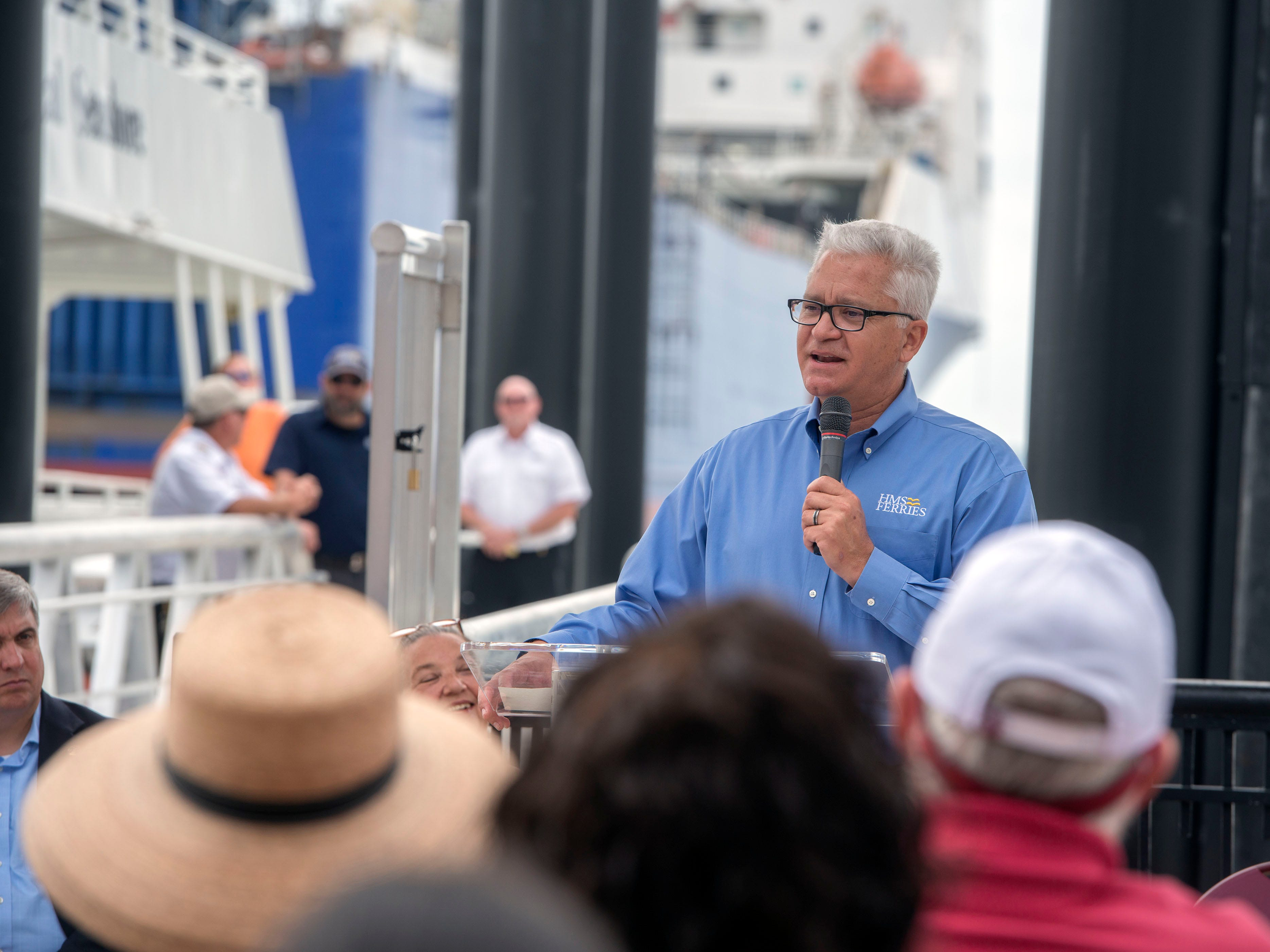 Joe Asebedo, general manager of HMS Ferries, speaks during the City of Pensacola's Ferry Terminal Building Grand Opening and ribbon cutting Saturday, April 13, 2019.