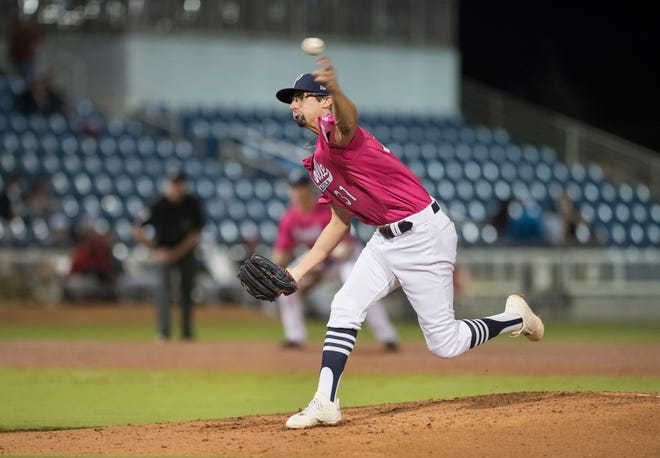 Devin Smeltzer (31) pitches during the Jacksonville Jumbo Shrimp vs Pensacola Blue Wahoos baseball game in Pensacola on Friday, April 12, 2019.