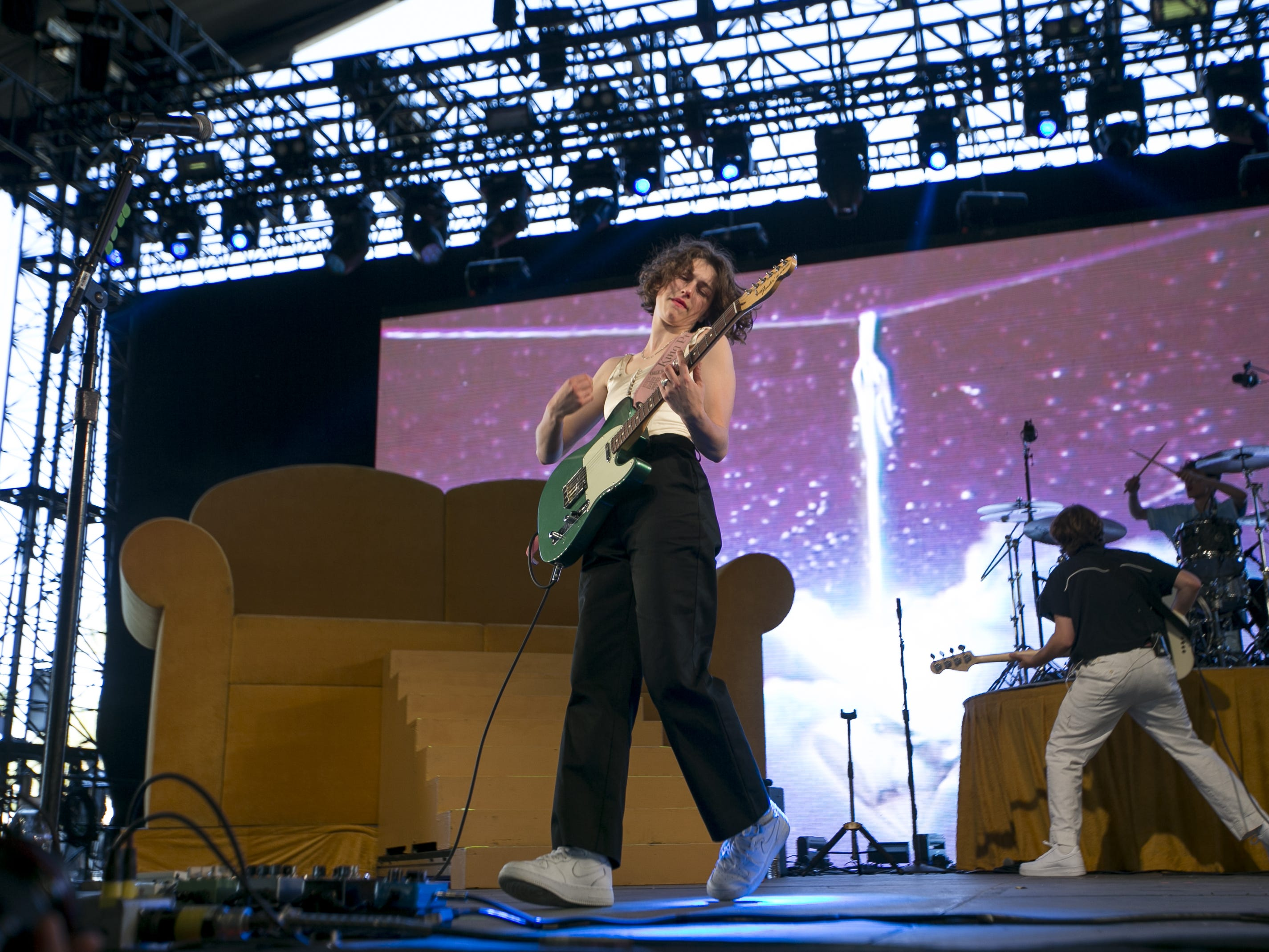 King Princess performs on the Mojave stage at the Coachella Valley Music and Arts Festival in Indio, Calif. on April 12, 2019.