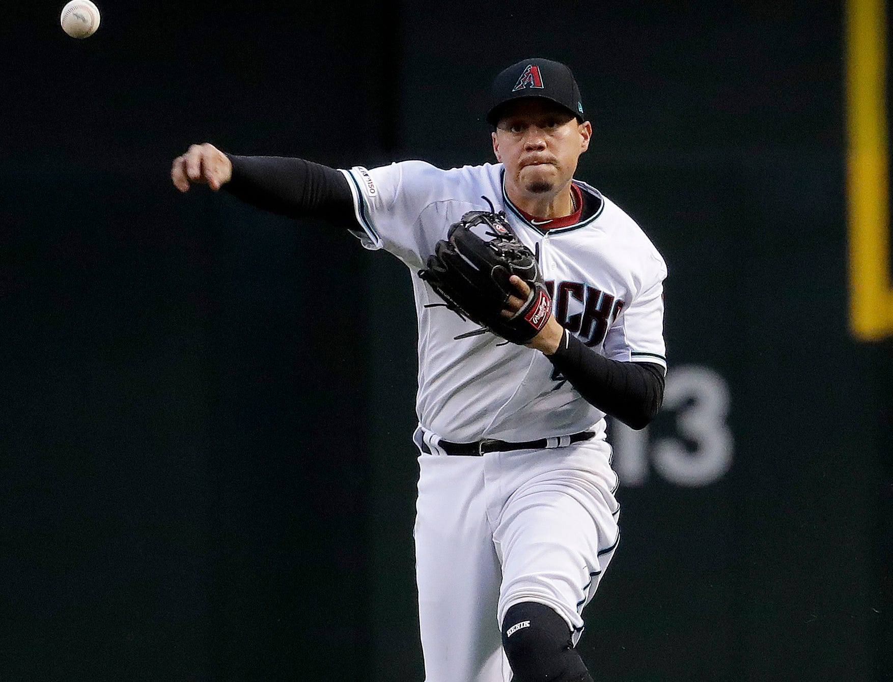 Arizona Diamondbacks' Wilmer Flores shows to first against the San Diego Padres during the first inning of a baseball game, Friday, April 12, 2019, in Phoenix. (AP Photo/Matt York)