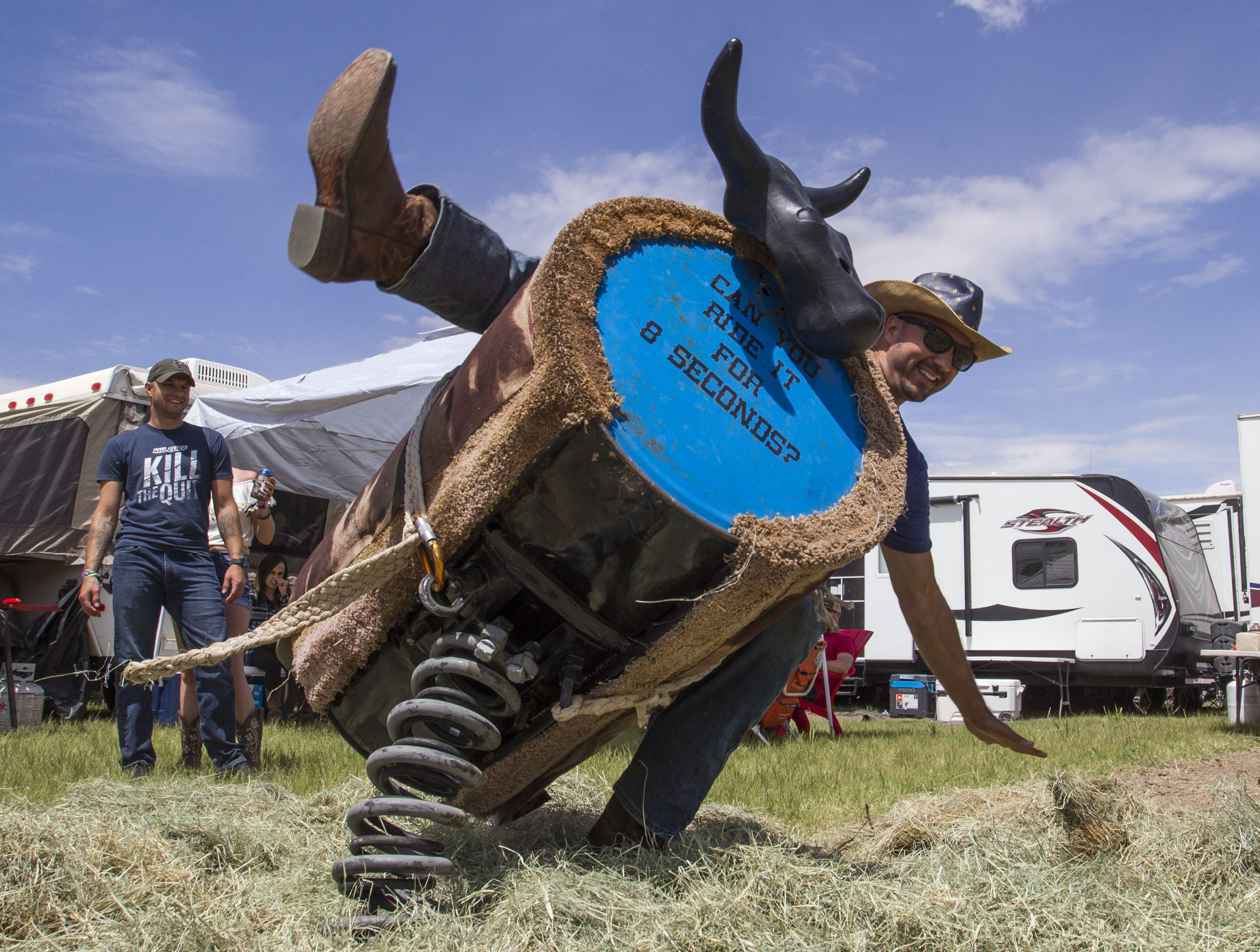 Daniel Valencia flies off the bull at I Love this Camp during Country Thunder Arizona Friday, April 12, 2019, in Florence, Arizona.