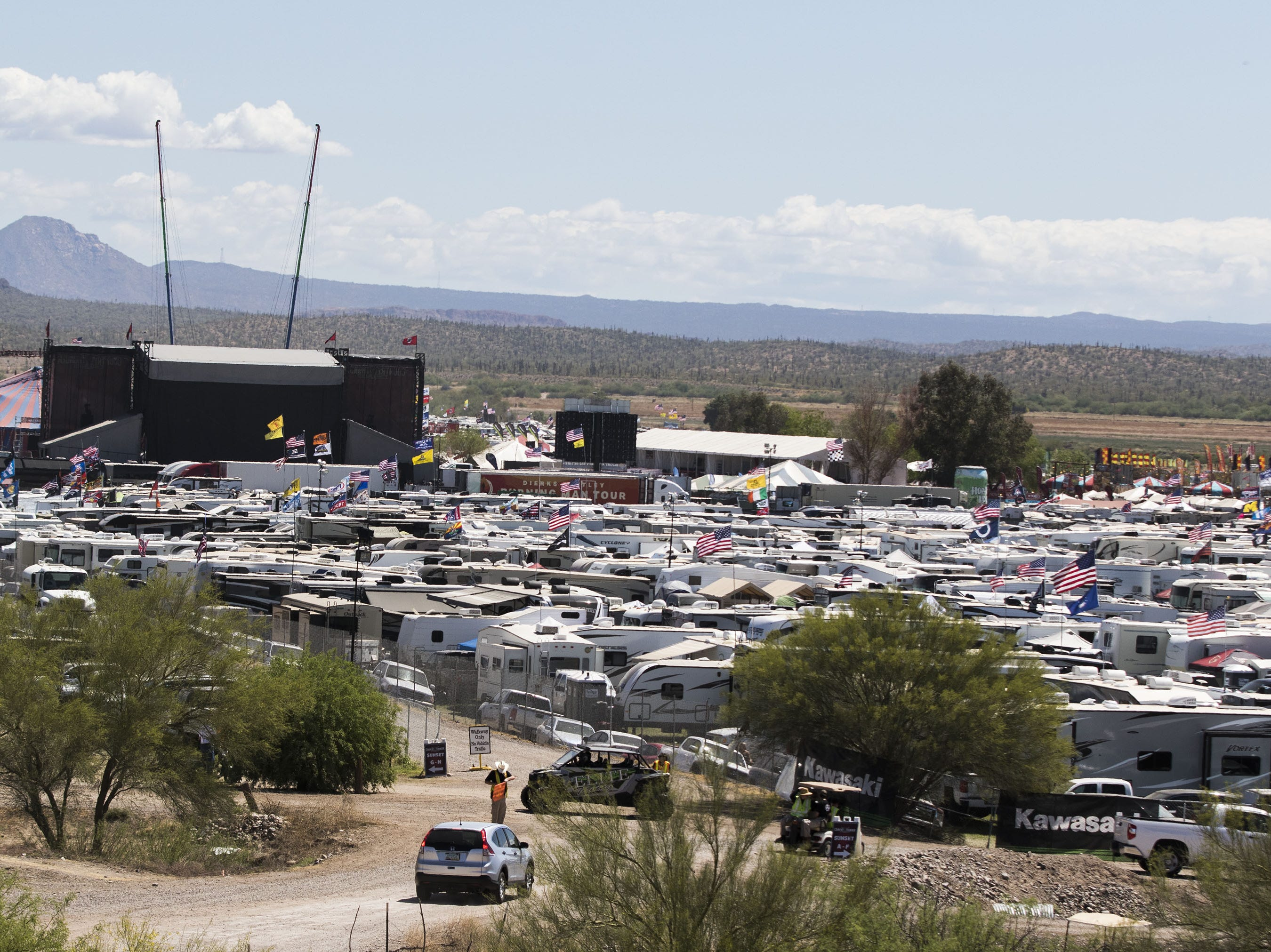 Camp grounds dot the landscape during Country Thunder Arizona Saturday, April 13, 2019, in Florence, Ariz.
