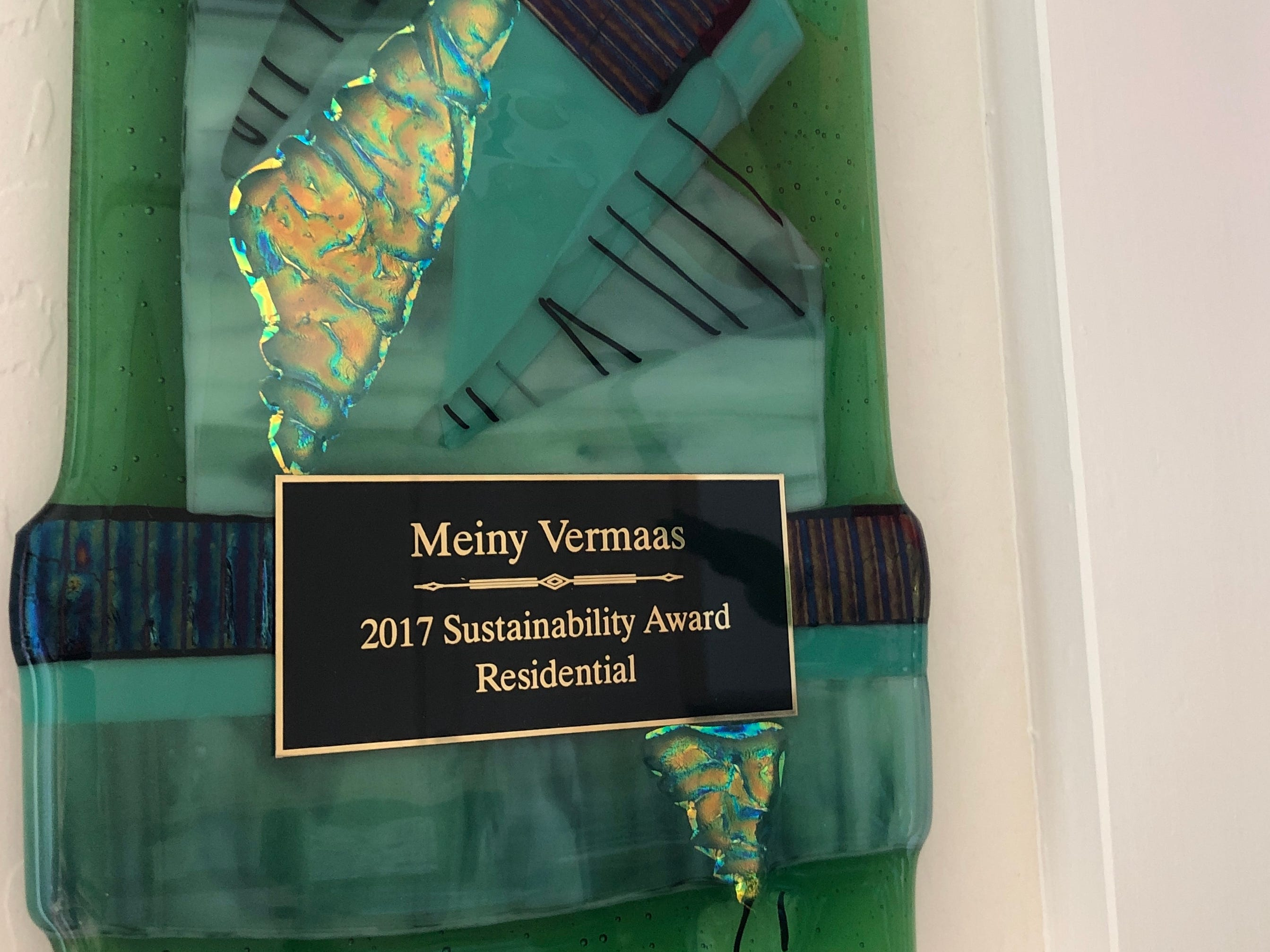 The City of Tempe awarded the Vermaases the first Tempe Sustainability Award for their net-zero energy addition.