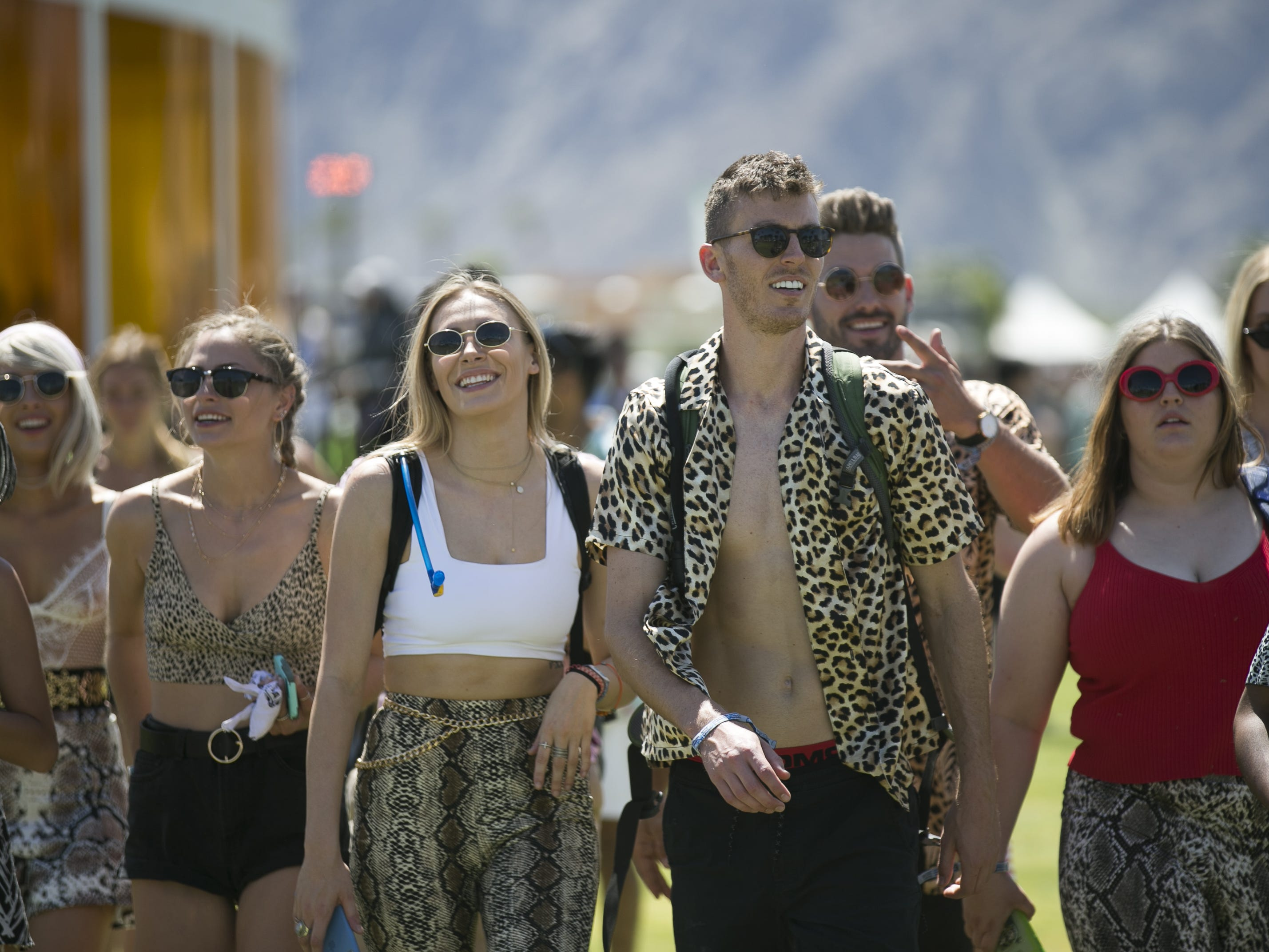 People gather at the Coachella Valley Music and Arts Festival in Indio, Calif. on April 12, 2019.