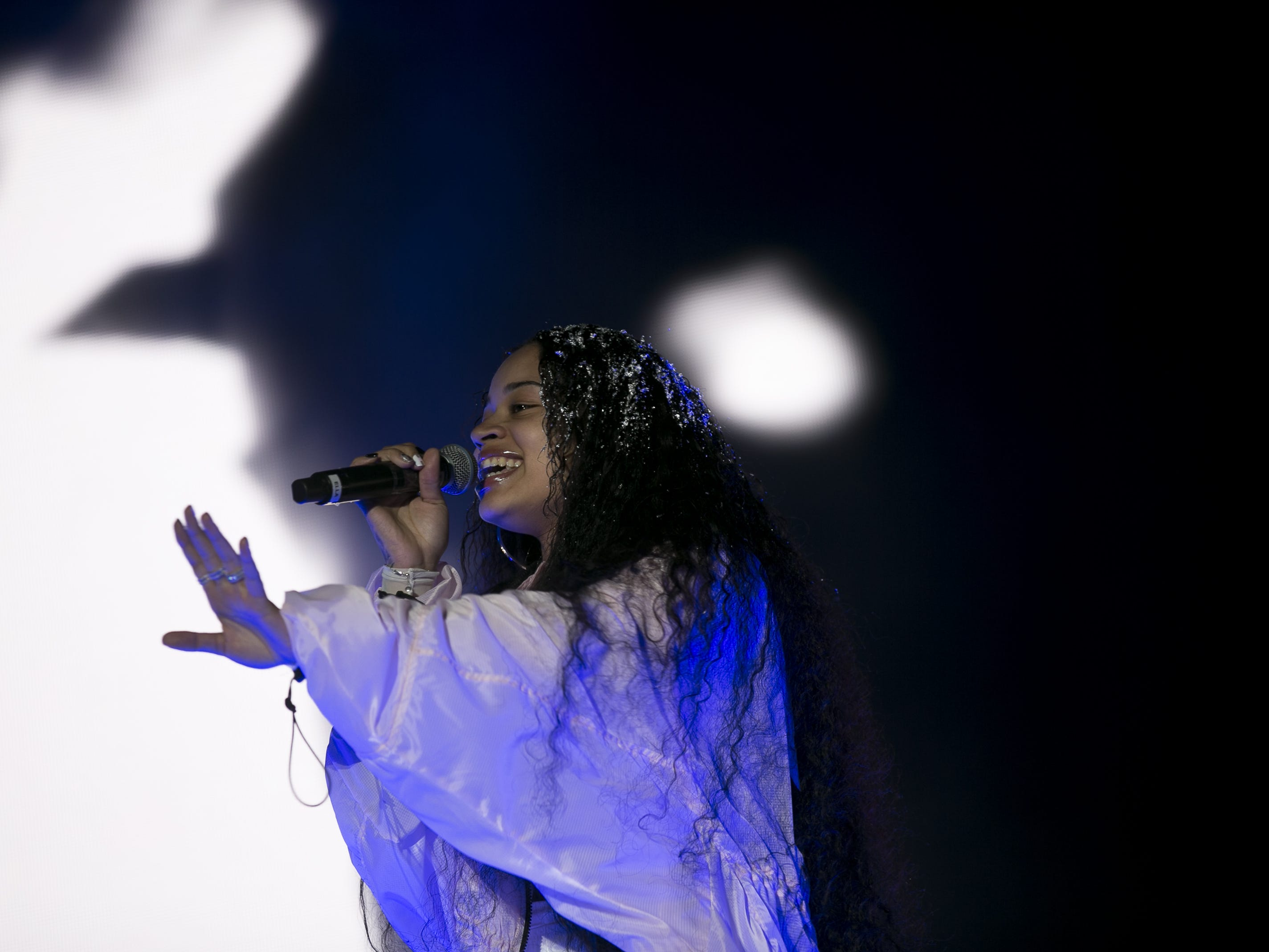 Ella Mai performs on stage at the Coachella Valley Music and Arts Festival in Indio, Calif. on April 12, 2019.