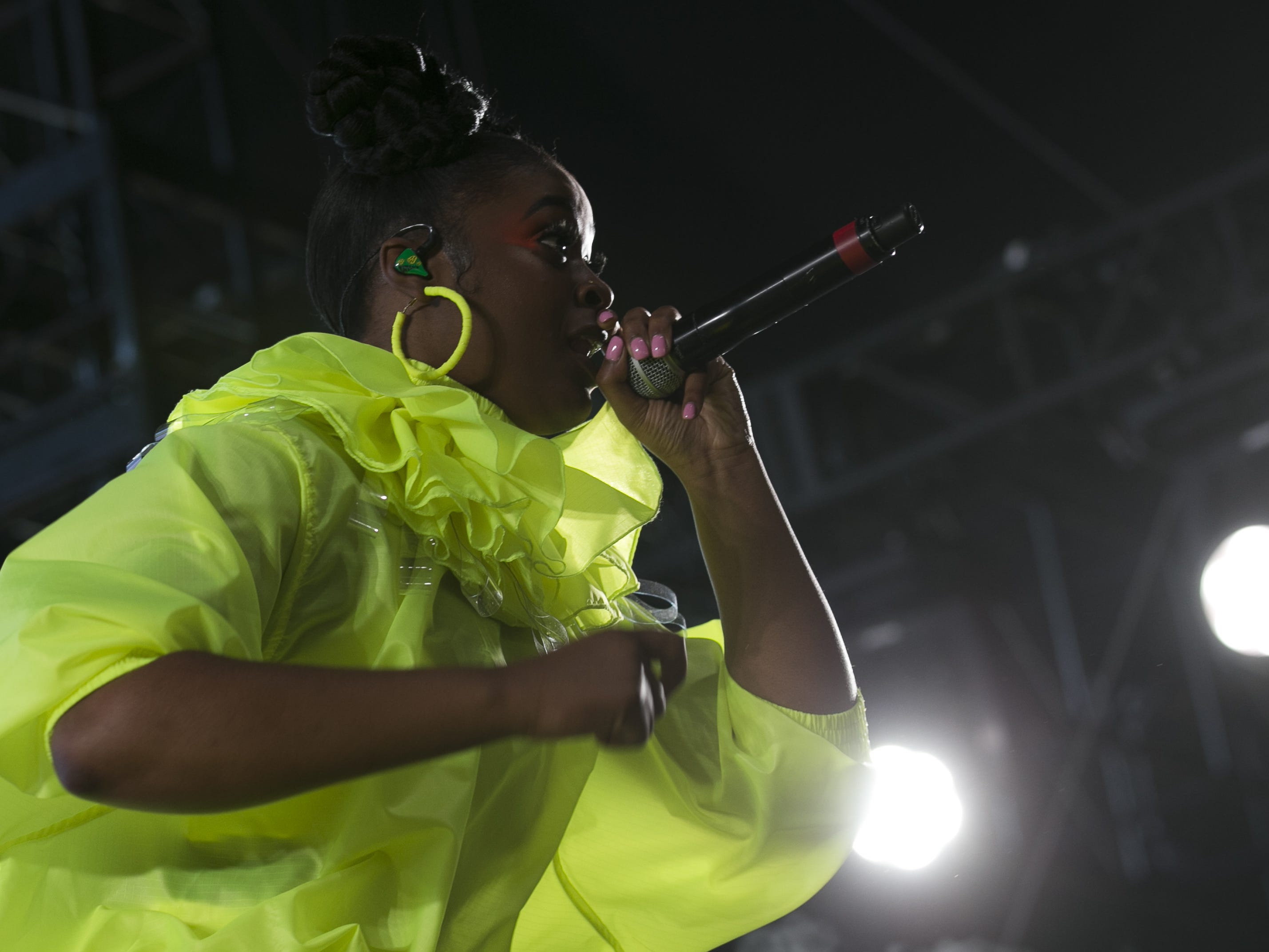 Tierra Whack performs on stage at the Coachella Valley Music and Arts Festival in Indio, Calif. on April 12, 2019.