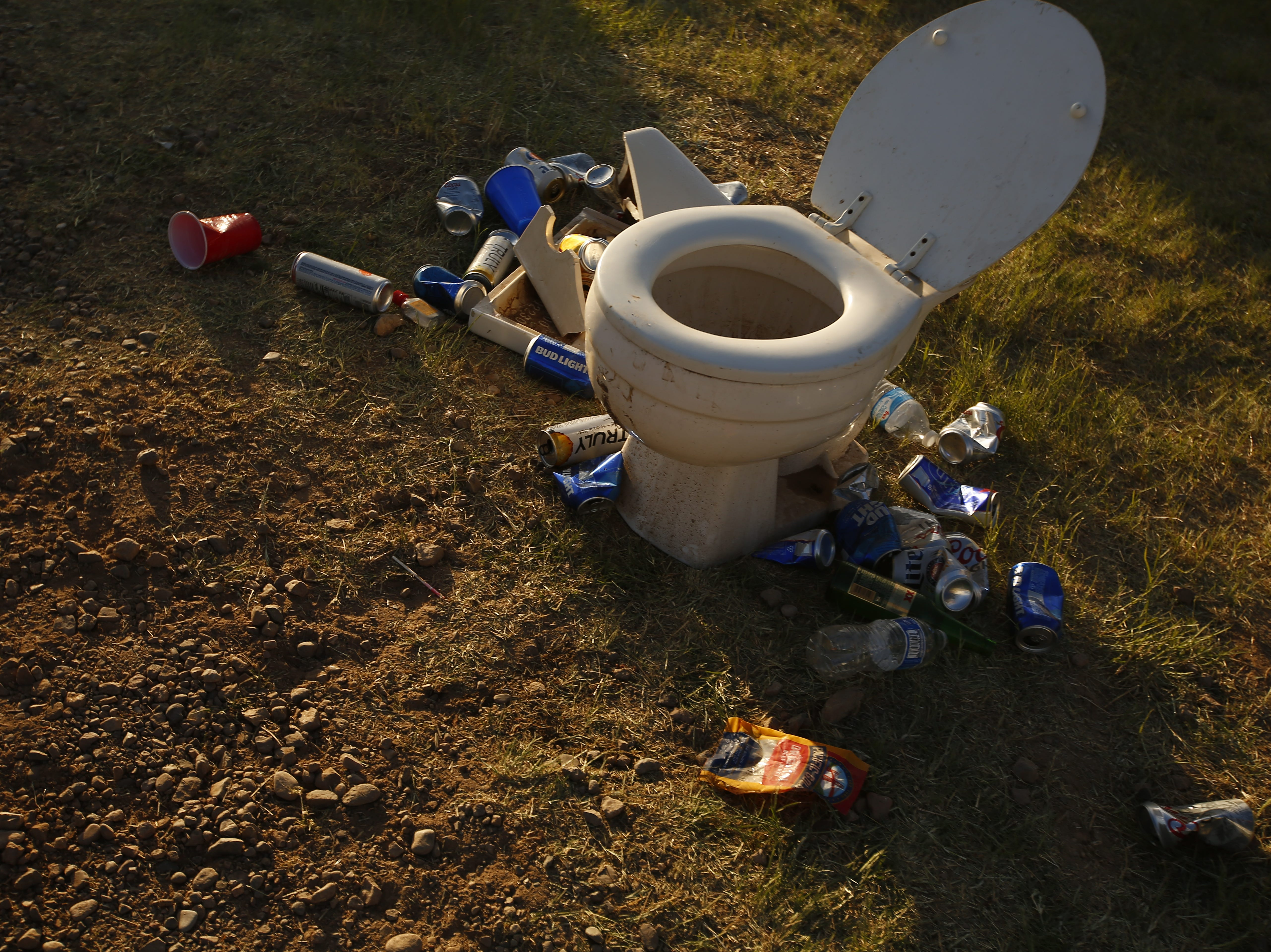 A toilet at the campsites during Country Thunder in Florence, Ariz. on Friday, April 12, 2019.
