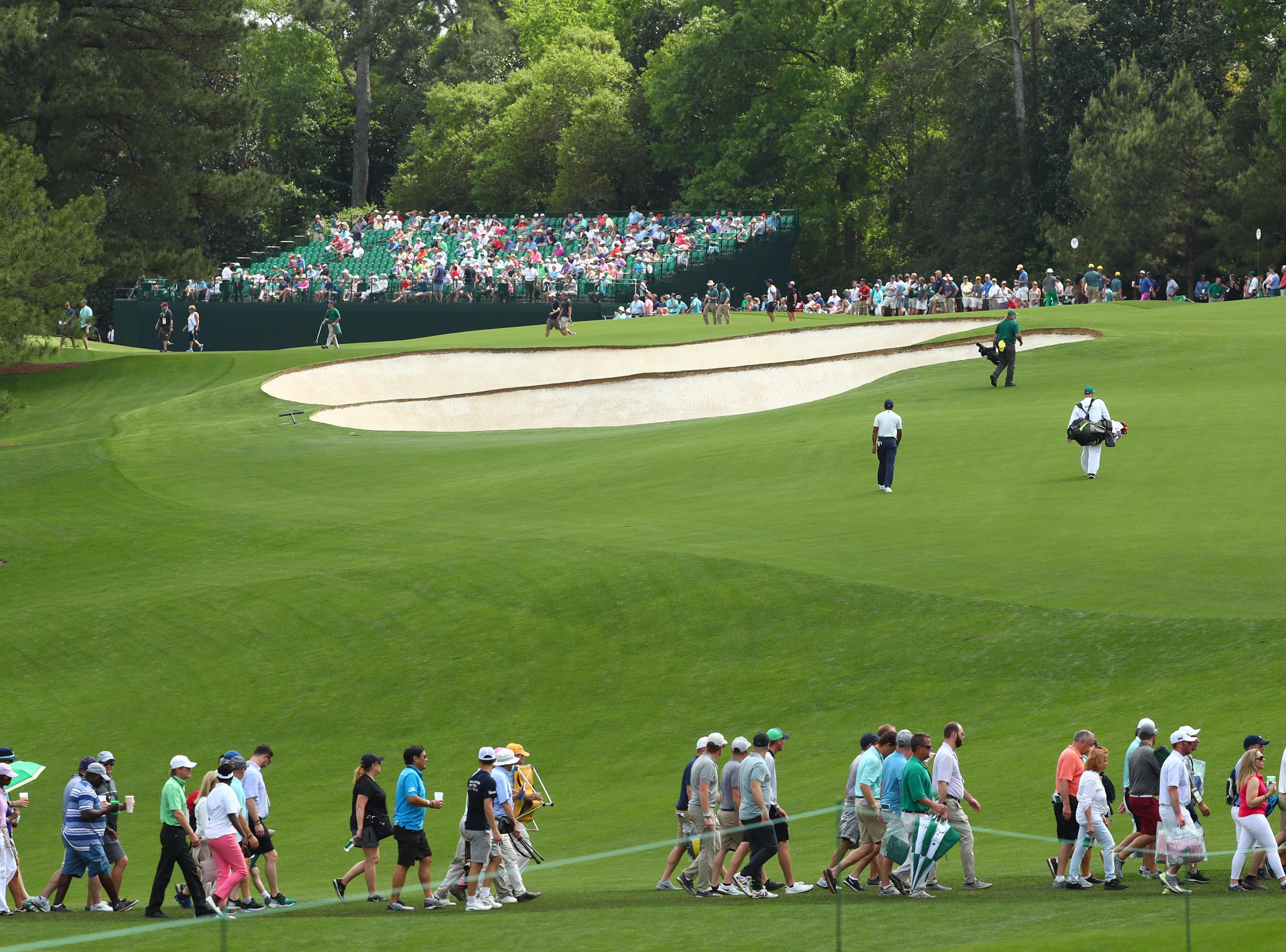 Apr 12, 2019; Augusta, GA, USA; Tiger Woods walks to the 6th green during the second round of The Masters golf tournament at Augusta National Golf Club. Mandatory Credit: Rob Schumacher-USA TODAY Sports