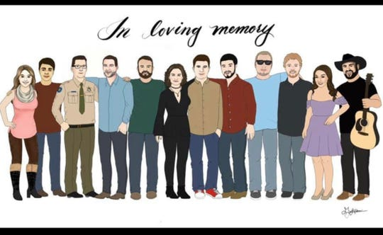 A sketch of the victims of the Nov. 7, 2018, shooting at Borderline Bar and Grill in Thousand Oaks, California.
