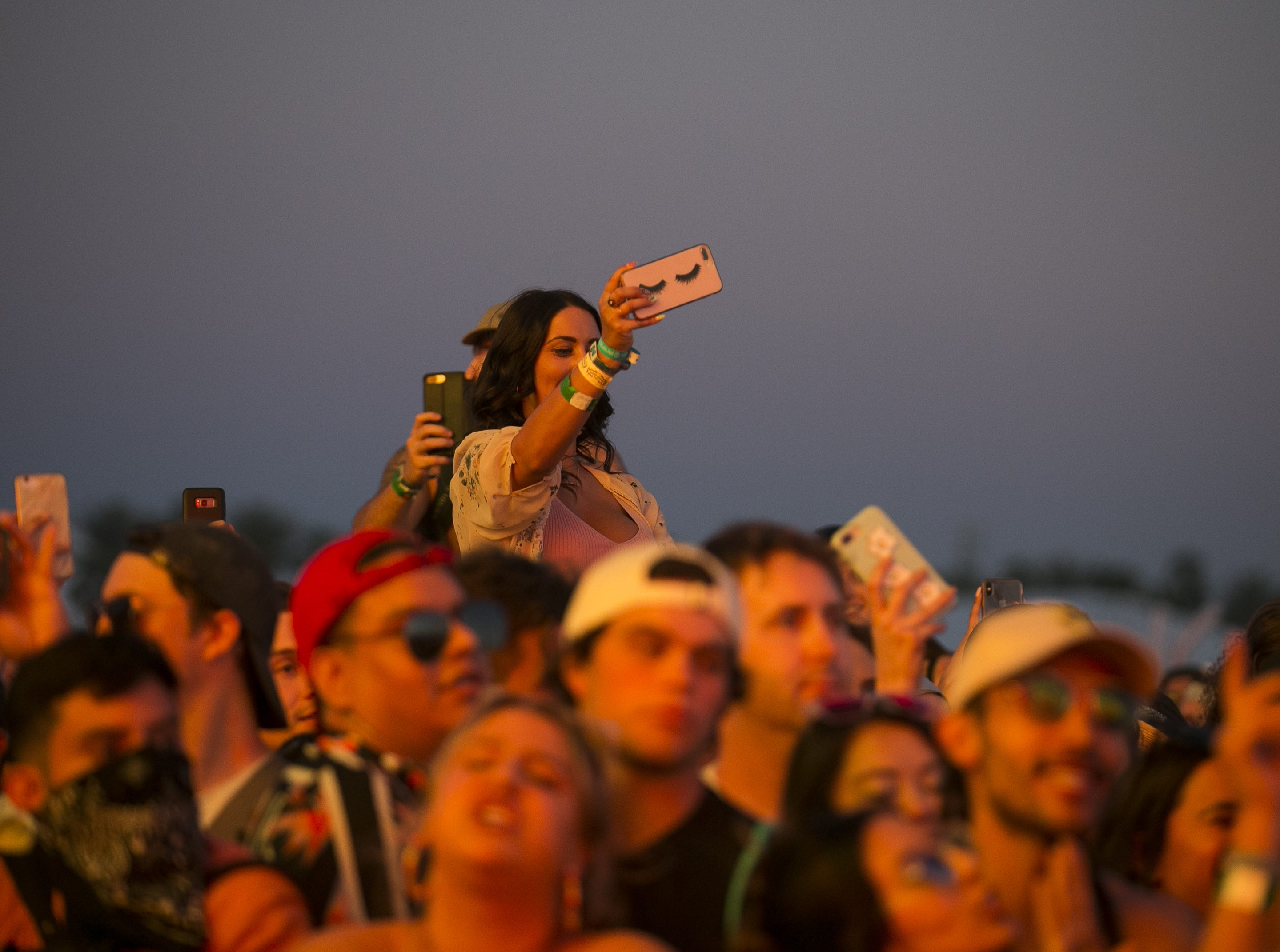 The crowd reacts to Anderson .Paak and The Free Nationals performing on stage at the Coachella Valley Music and Arts Festival in Indio, Calif. on April 12, 2019.