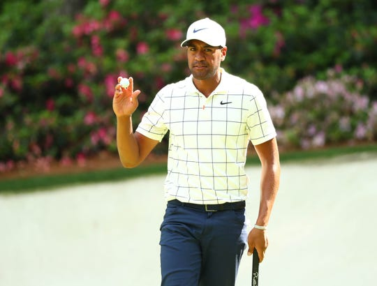 Apr 13, 2019: Tony Finau after a birdie putt on the 13th hole during the third round of The Masters golf tournament at Augusta National Golf Club.