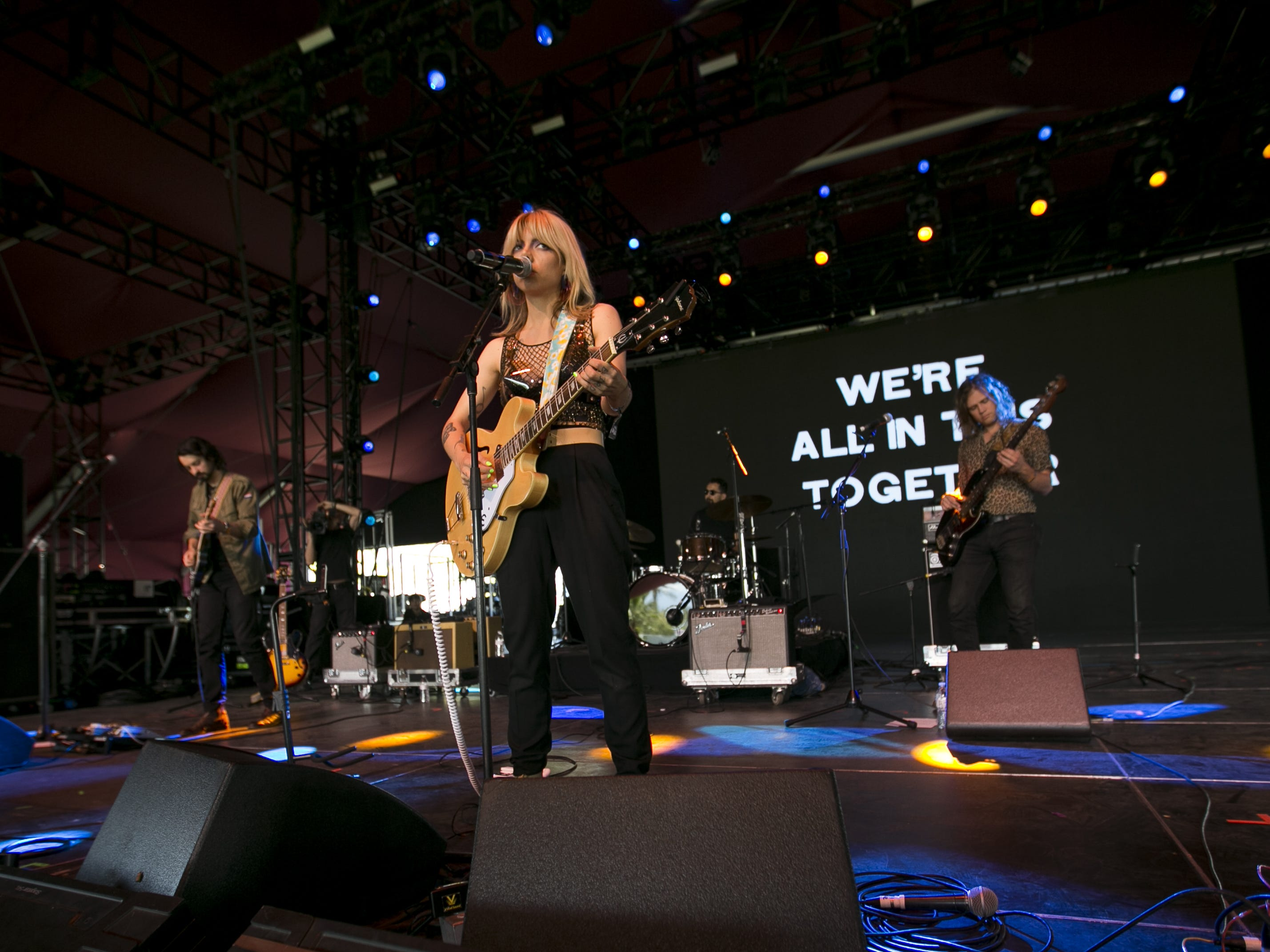 Hurray for the Riff Raff perform on the main stage at the Coachella Valley Music and Arts Festival in Indio, Calif. on April 12, 2019.