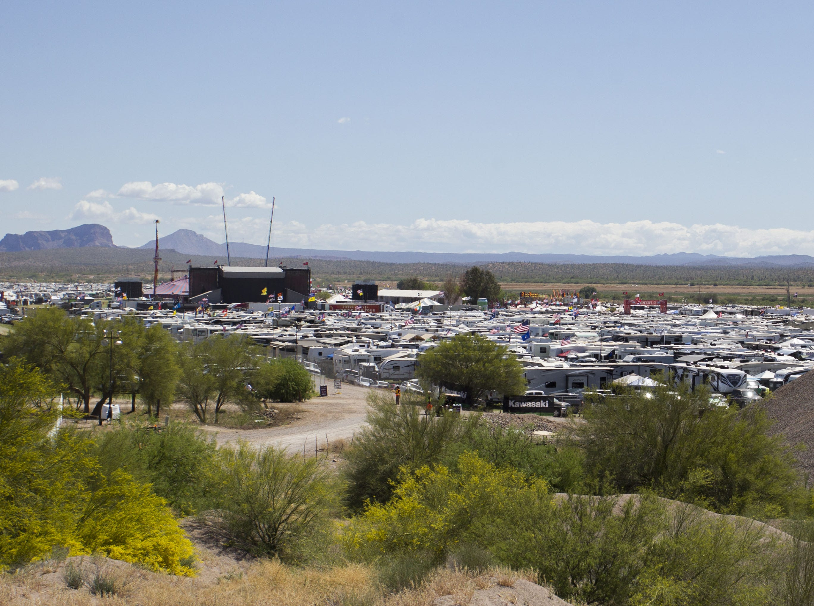 Camp grounds dot the landscape during Country Thunder Arizona Friday, April 13, 2019, in Florence, Ariz.