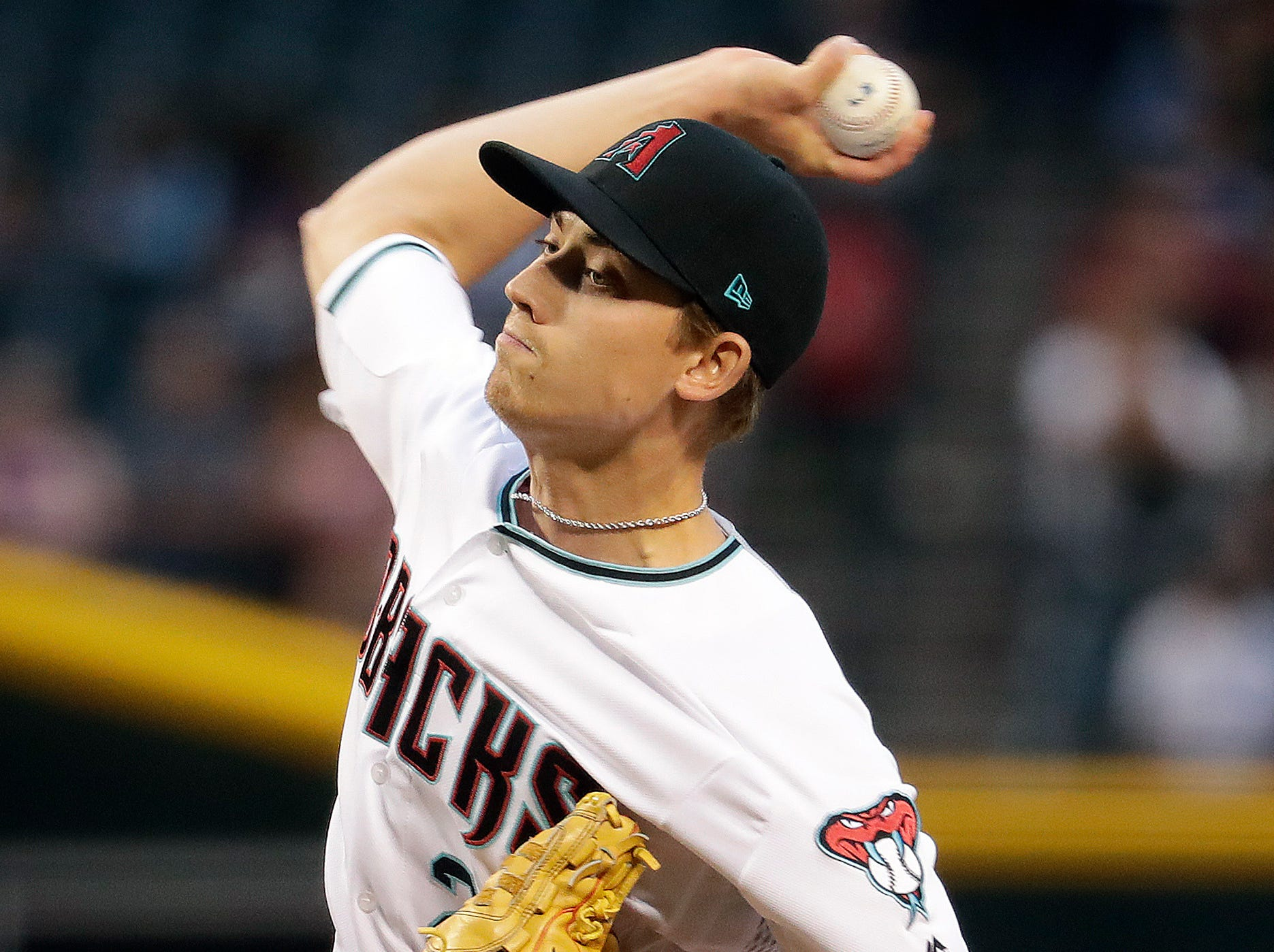 Arizona Diamondbacks starting pitcher Luke Weaver throws to a San Diego Padres batter during the first inning of a baseball game Friday, April 12, 2019, in Phoenix. (AP Photo/Matt York)