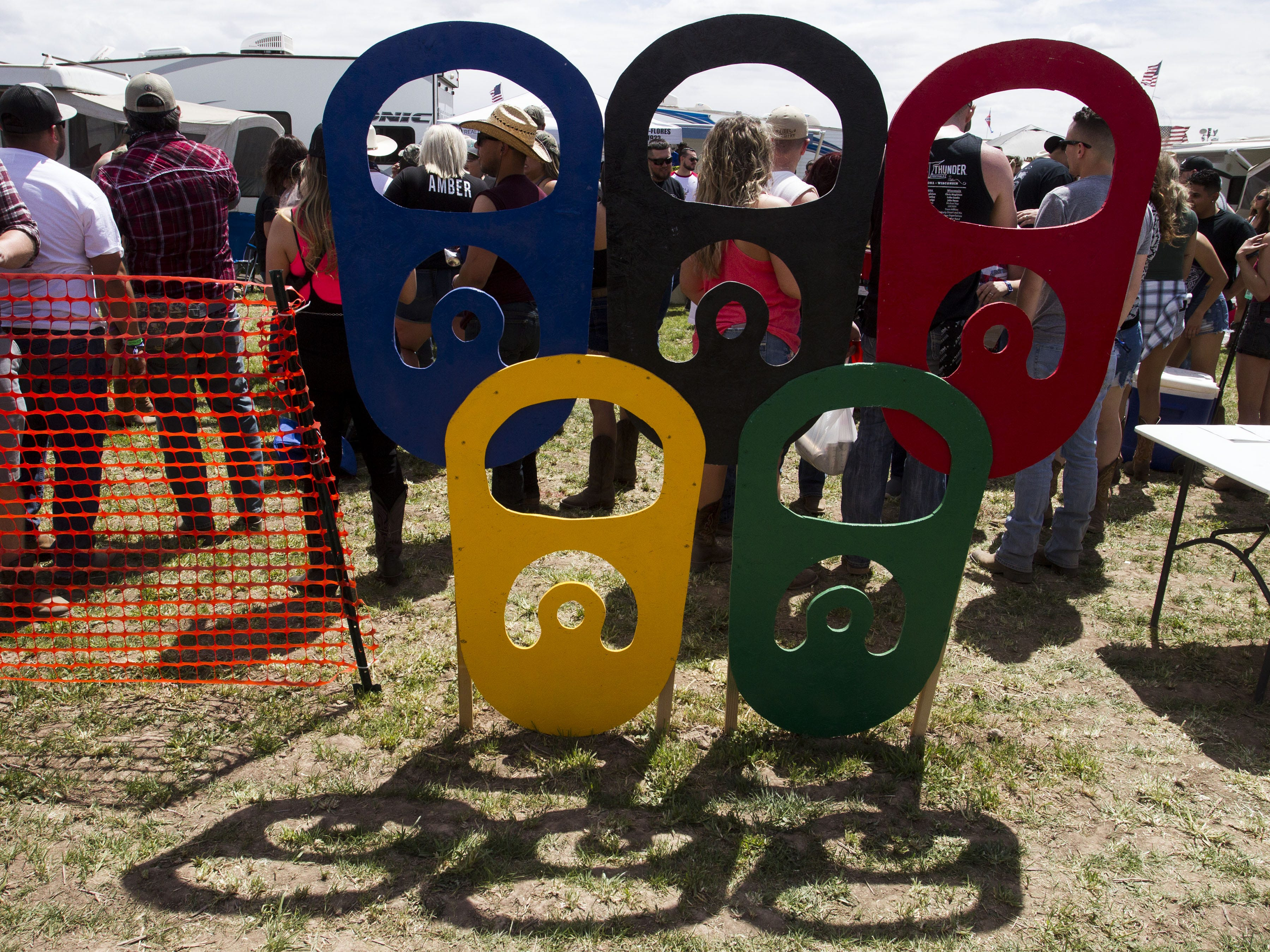 Beer Olympic symbols of beer rings sit out in front of the arena during Country Thunder Arizona Friday, April 12, 2019, in Florence, Ariz.