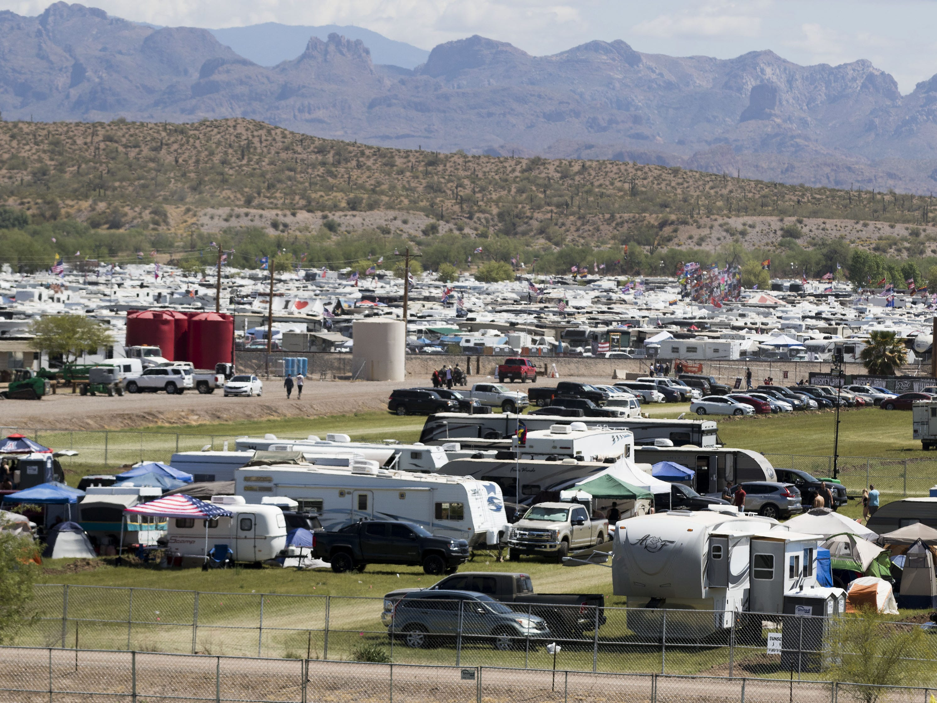Extra camp grounds like Sunset East (foreground) house campers & trailers during Country Thunder Arizona Saturday, April 13, 2019, in Florence, Arizona.
