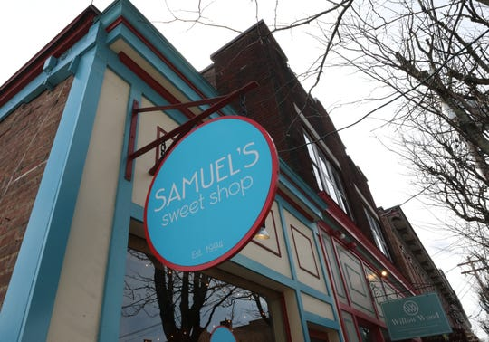 The exterior sign at Samuel's Sweet Shop in Rhinebeck, April 13, 2019. The shop is celebrating it's 25th anniversary this month.