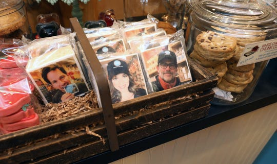 Marshmallow rice treats bearing the likeness of co-owners Paul Rudd, Hilarie Burton and Jeffrey Dean Morgan are pictured at Samuel's Sweet Shop in Rhinebeck, N.Y. The shop is celebrating it's 25th anniversary this month.