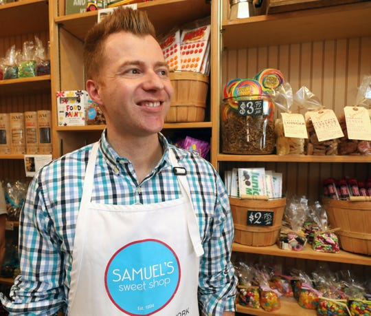 Manager John Traver is pictured at Samuel's Sweet Shop in Rhinebeck, April 13, 2019. The shop is celebrating it's 25th anniversary this month.