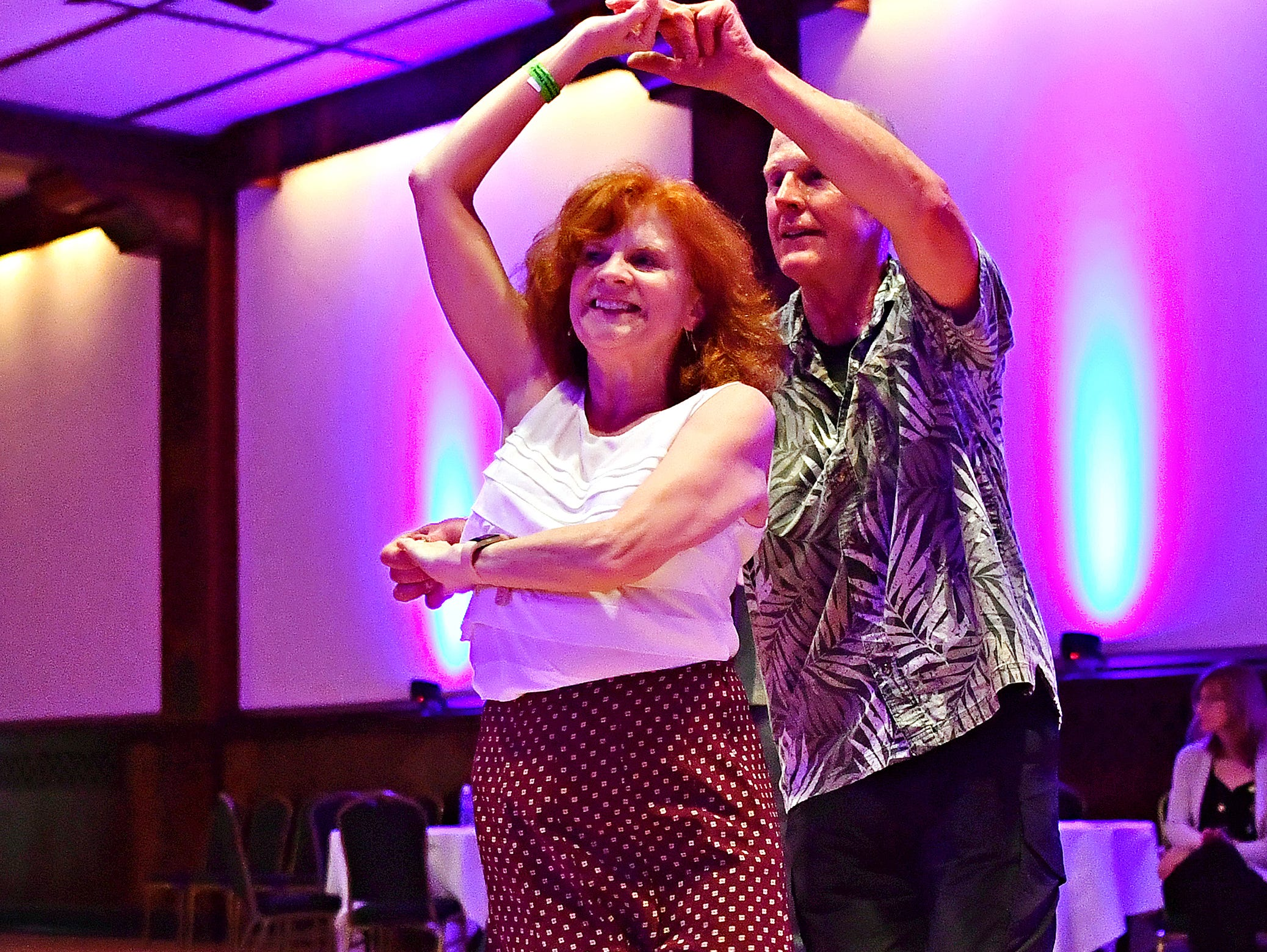 Ellen and Steve Nichols, of Winchester, Va., dance as Parlour Noir performs during Big Swing Thing III Premiere Swing Music & Dance Festival at Valencia Ballroom in York City, Friday, April 12, 2019. Dawn J. Sagert photo