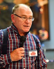 New Freedom Borough Council candidate Andy Bobby speaks as community members gather to meet candidates in New Freedom, Saturday, April 13, 2019. Dawn J. Sagert photo
