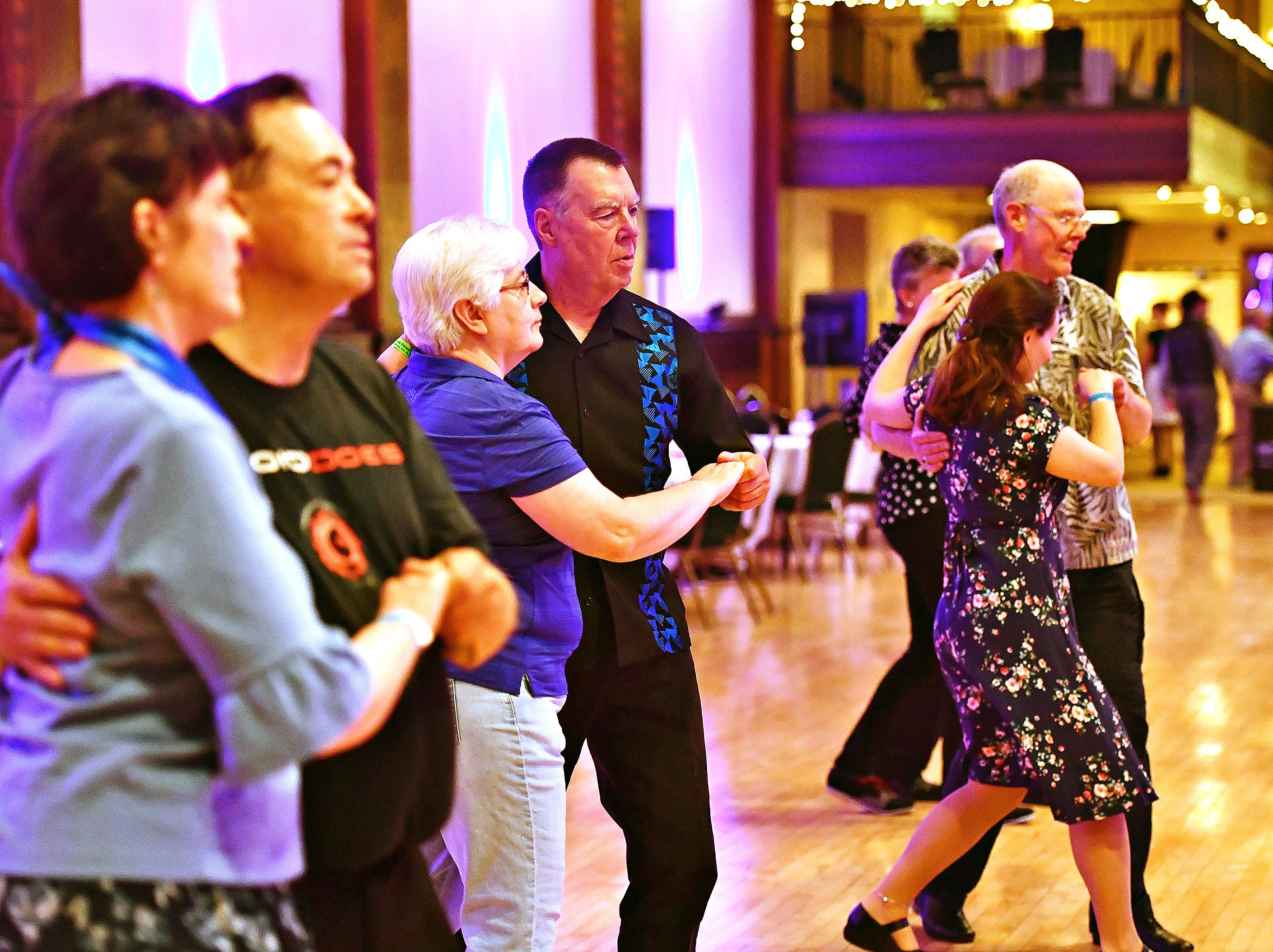 From left, Mary Anne Gladfelter, of Elizabethtown, Leslie Schuermann, of Culpeper, Va., Tammy Blake, of Baltimore, Md., Jessica Quinn, of York City, and Steve Nichols of Winchester, Va., participate in a Swing Class Crash Course during Big Swing Thing III Premiere Swing Music & Dance Festival at Valencia Ballroom in York City, Friday, April 12, 2019. Dawn J. Sagert photo