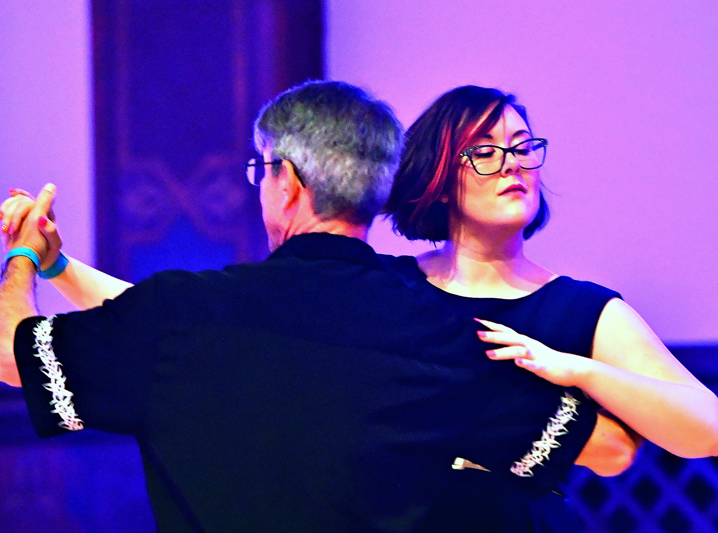 Attendees dance as Parlour Noir performs during Big Swing Thing III Premiere Swing Music & Dance Festival at Valencia Ballroom in York City, Friday, April 12, 2019. Dawn J. Sagert photo