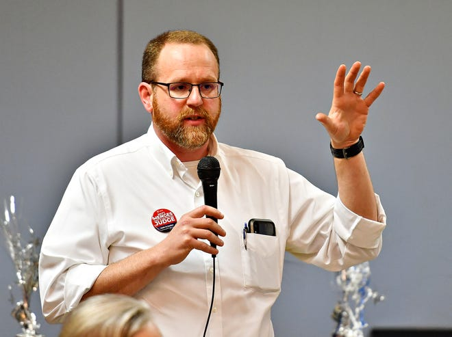 Matt Menges, candidate for Court of Common Pleas Judge, speaks to community members in New Freedom, Saturday, April 13, 2019. Dawn J. Sagert photo